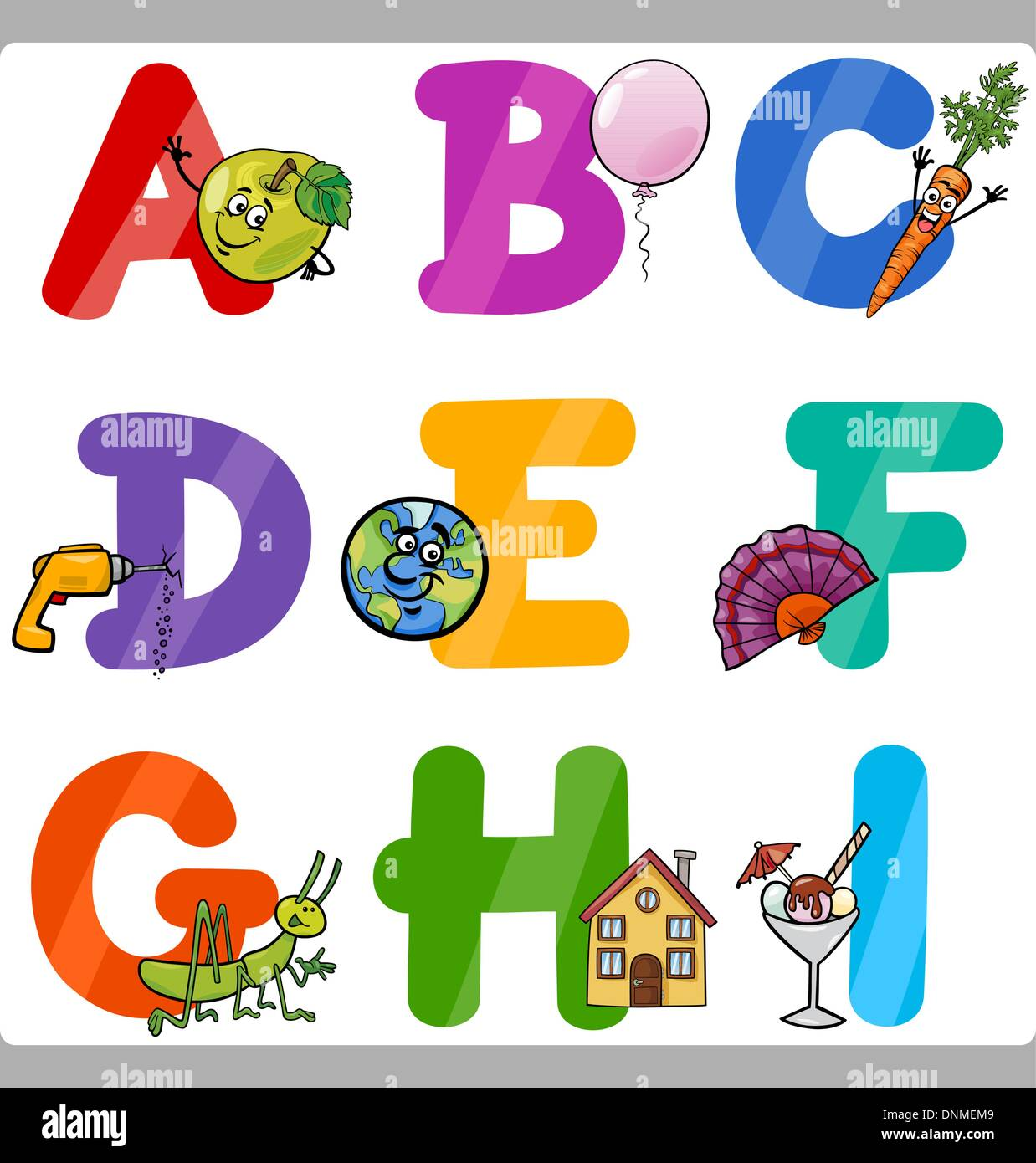 Cartoon Illustration Of Funny Capital Letters Alphabet With Objects For Language And Vocabulary Education Children From A To