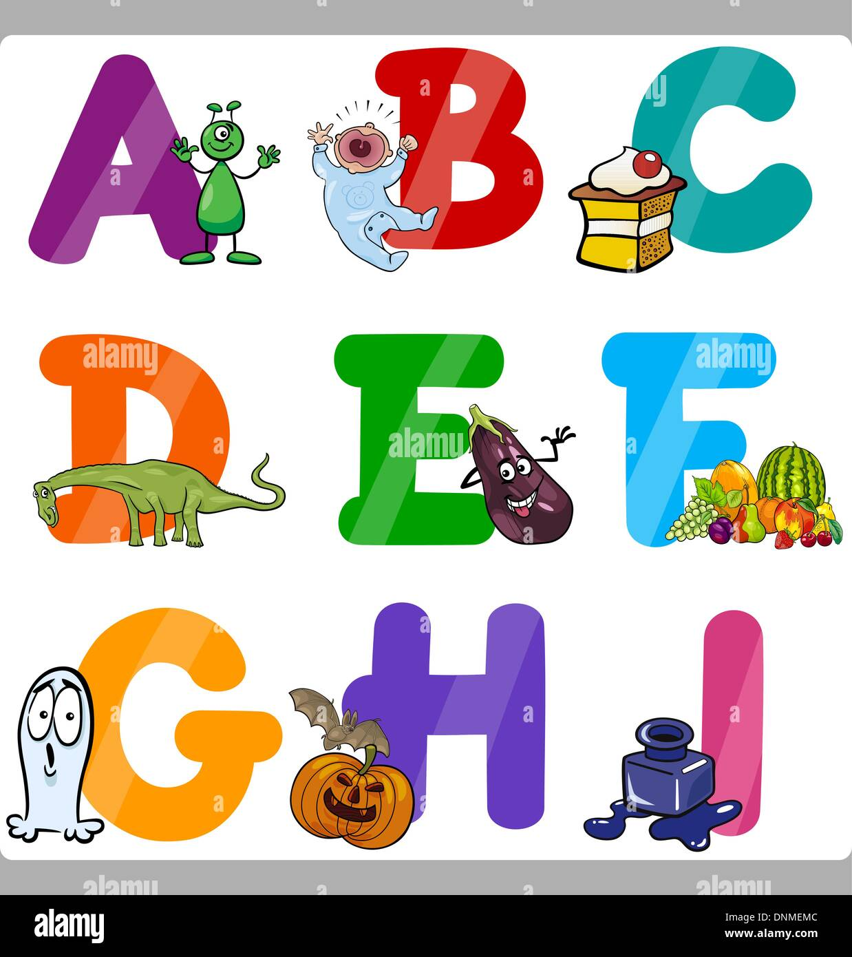 Cartoon Illustration Of Funny Capital Letters Alphabet With Objects