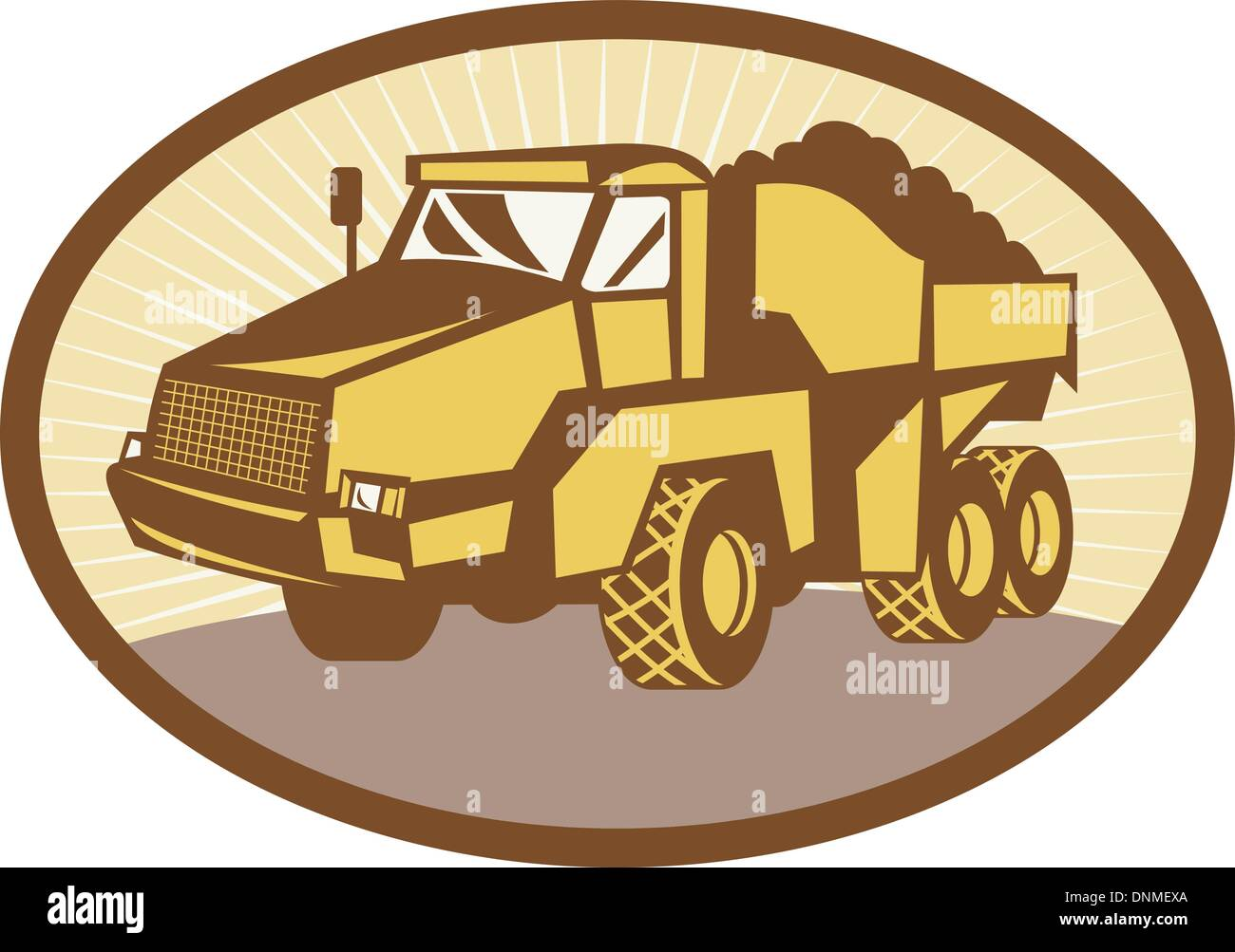 illustration of a mining Tipper dumper dump truck or lorry set inside an ovall done in retro woodcut style. - Stock Image