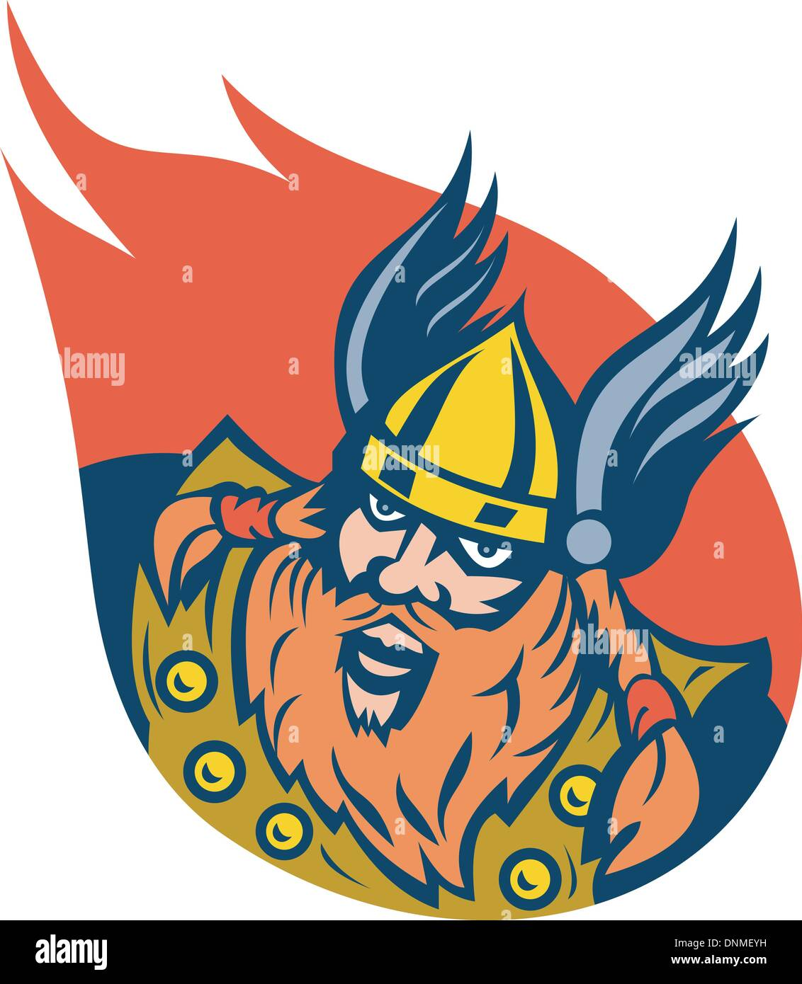 illustration of a viking warrior or norse god - Stock Image