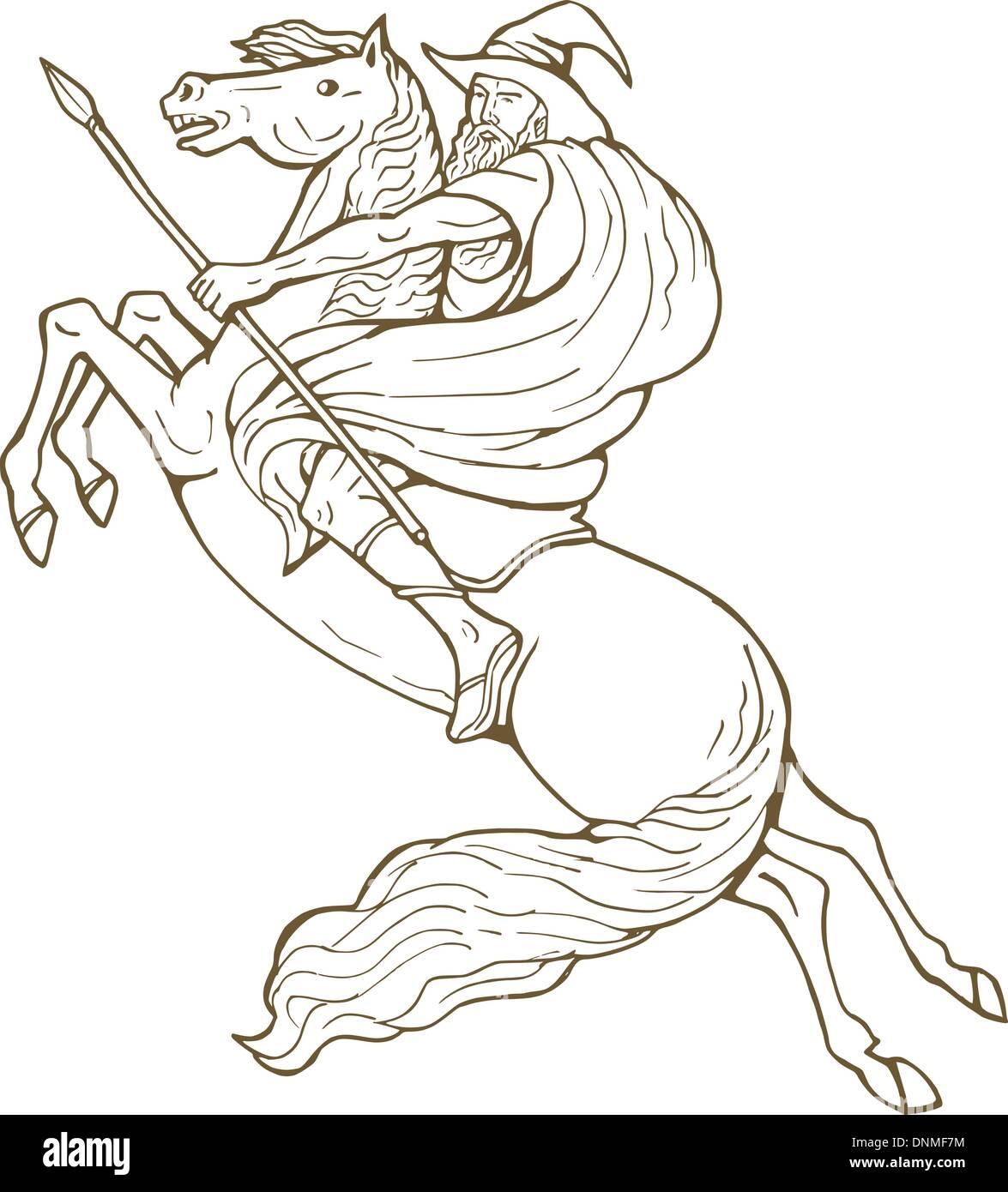 illustration of Norse God Odin riding horse isolated on white - Stock Image