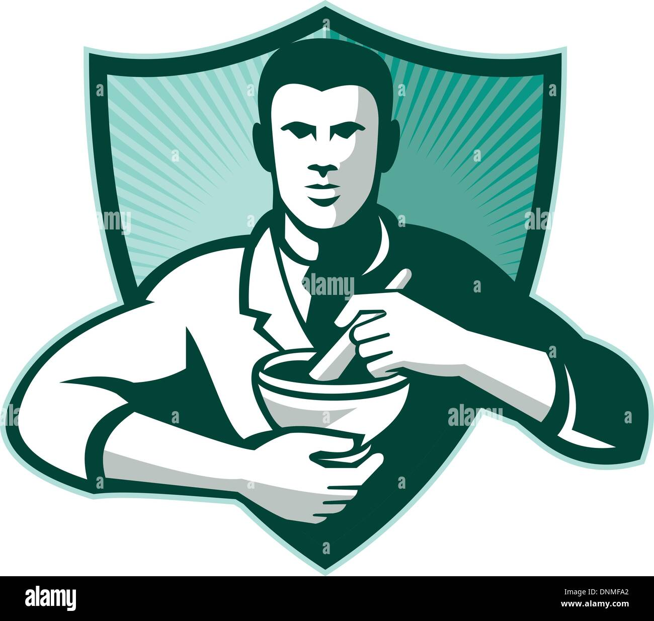Retro style illustration of a pharmacist chemist worker mixing medicine with mortar and pestle viewed from front set inside shield. - Stock Vector