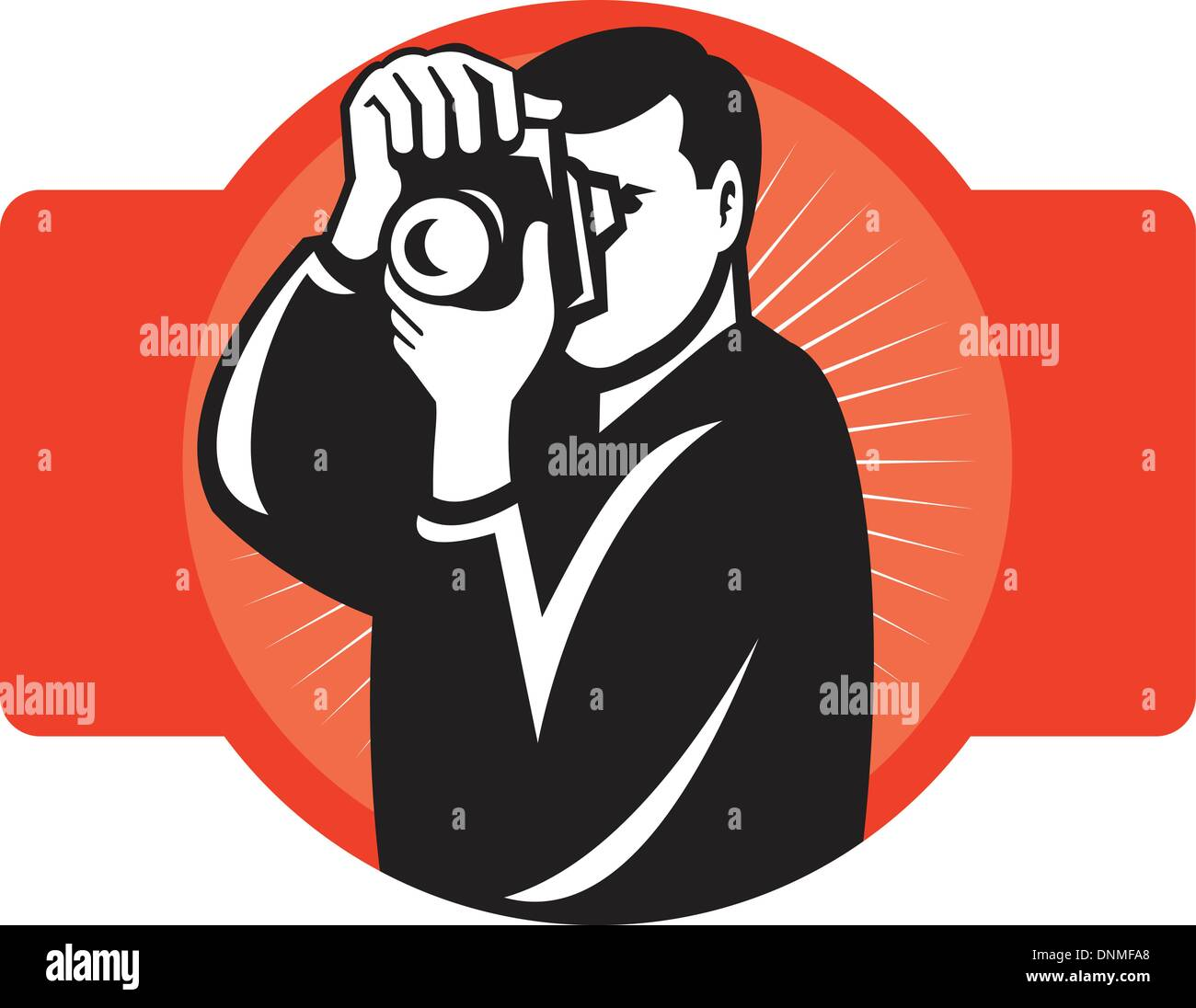 illustration of a photographer aiming slr camera front view on isolated background - Stock Vector