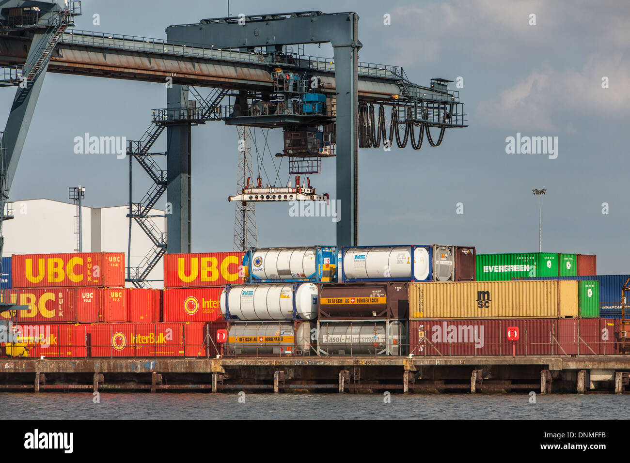 Container Base, River Tees,Teesside, England Stock Photo