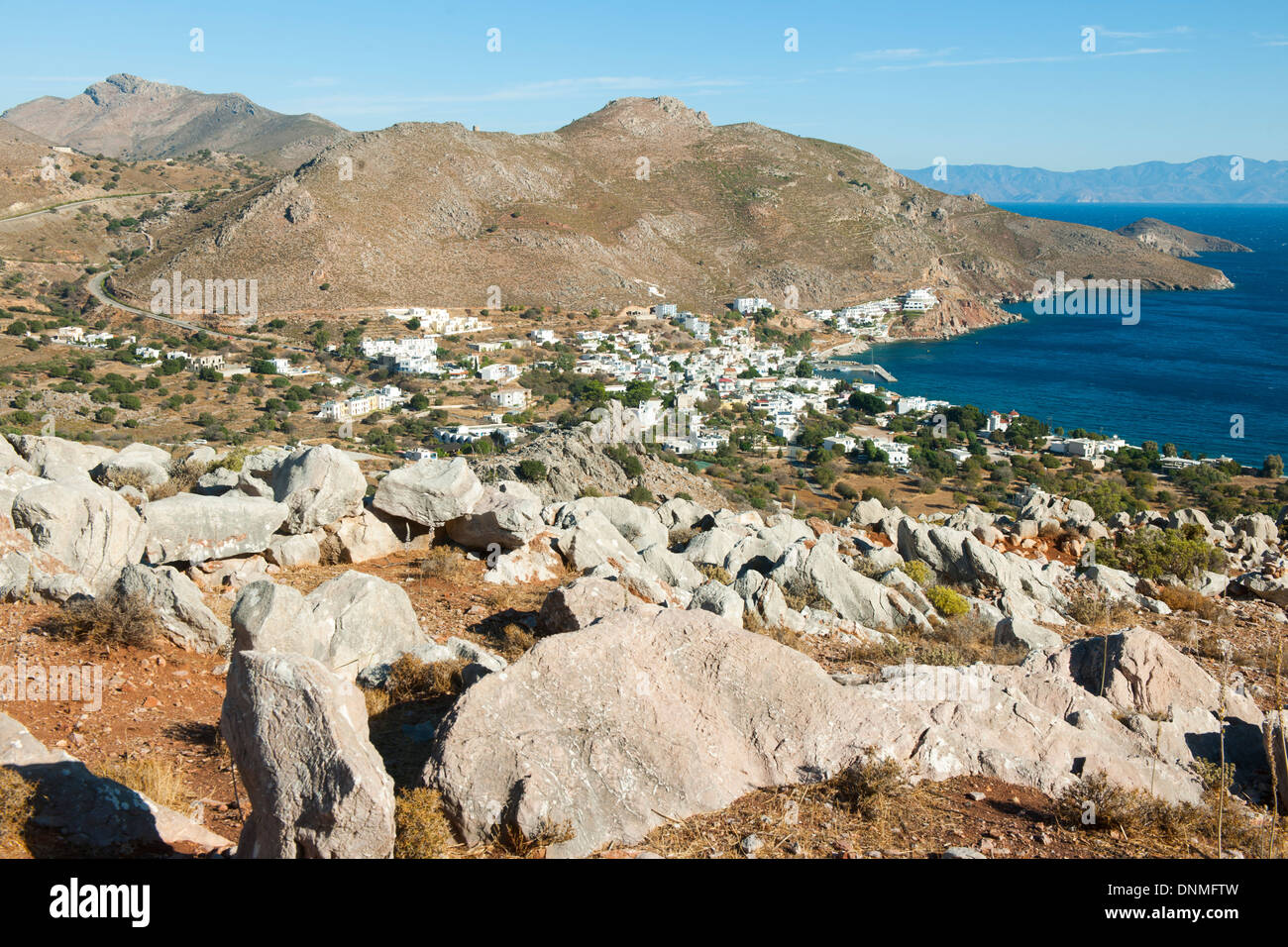 Griechenland, Insel Tilos, Bucht von Livadia - Stock Image