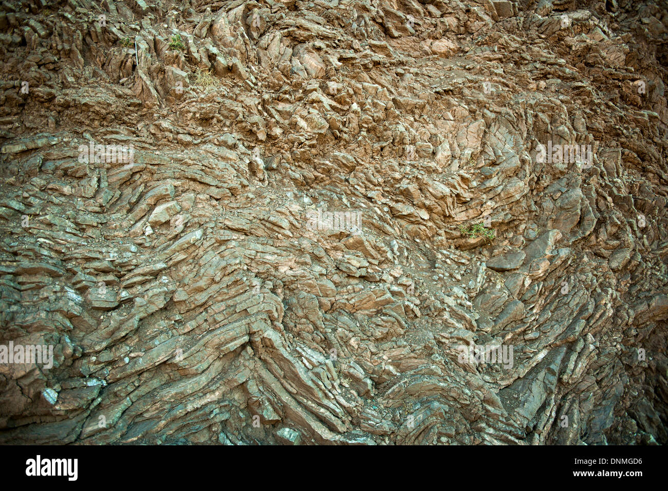 Griechenland, Insel Tilos, Gesteinsschicht im Gebirge - Stock Image