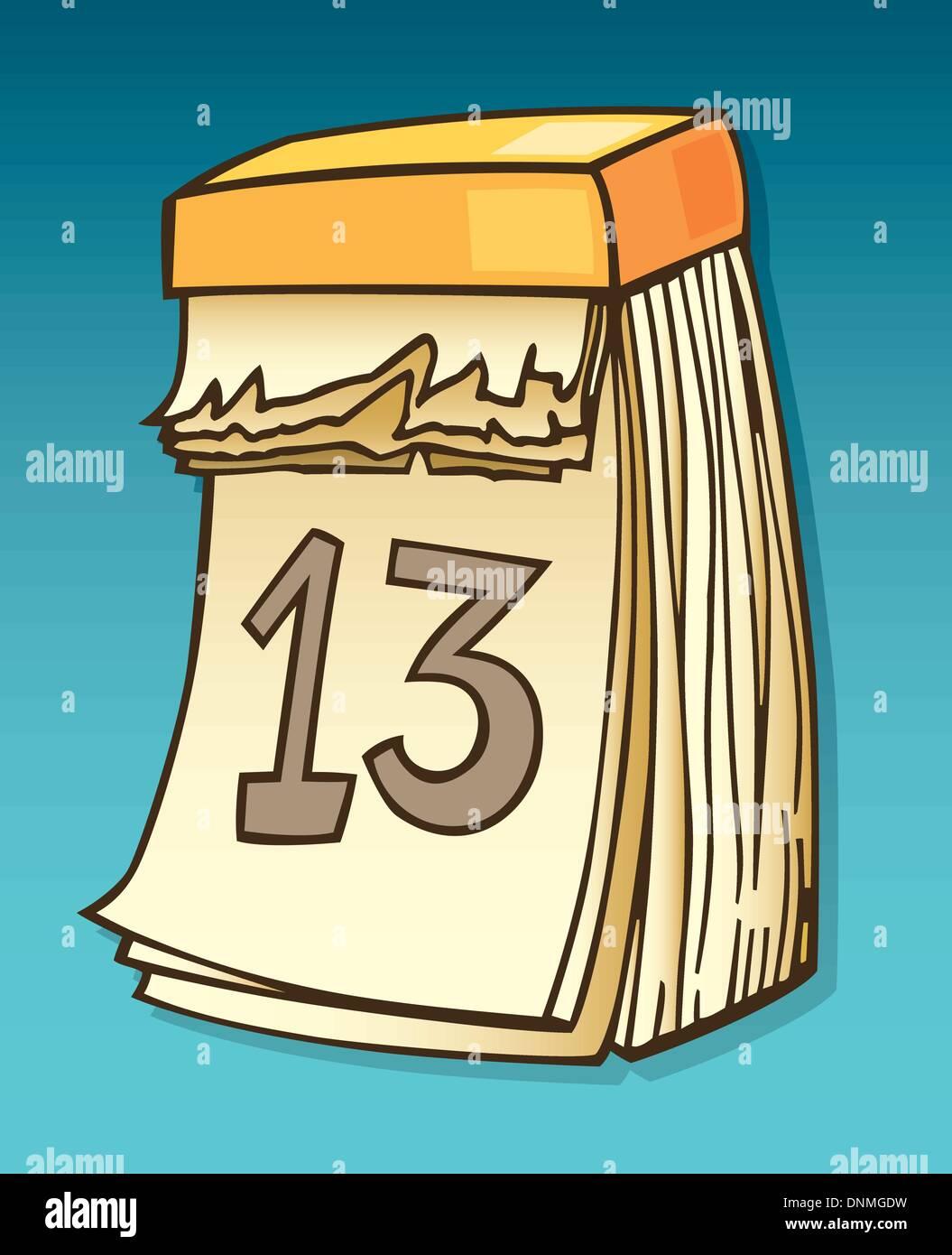 Illustration of thirteenth on wall calendar Stock Vector Art ...