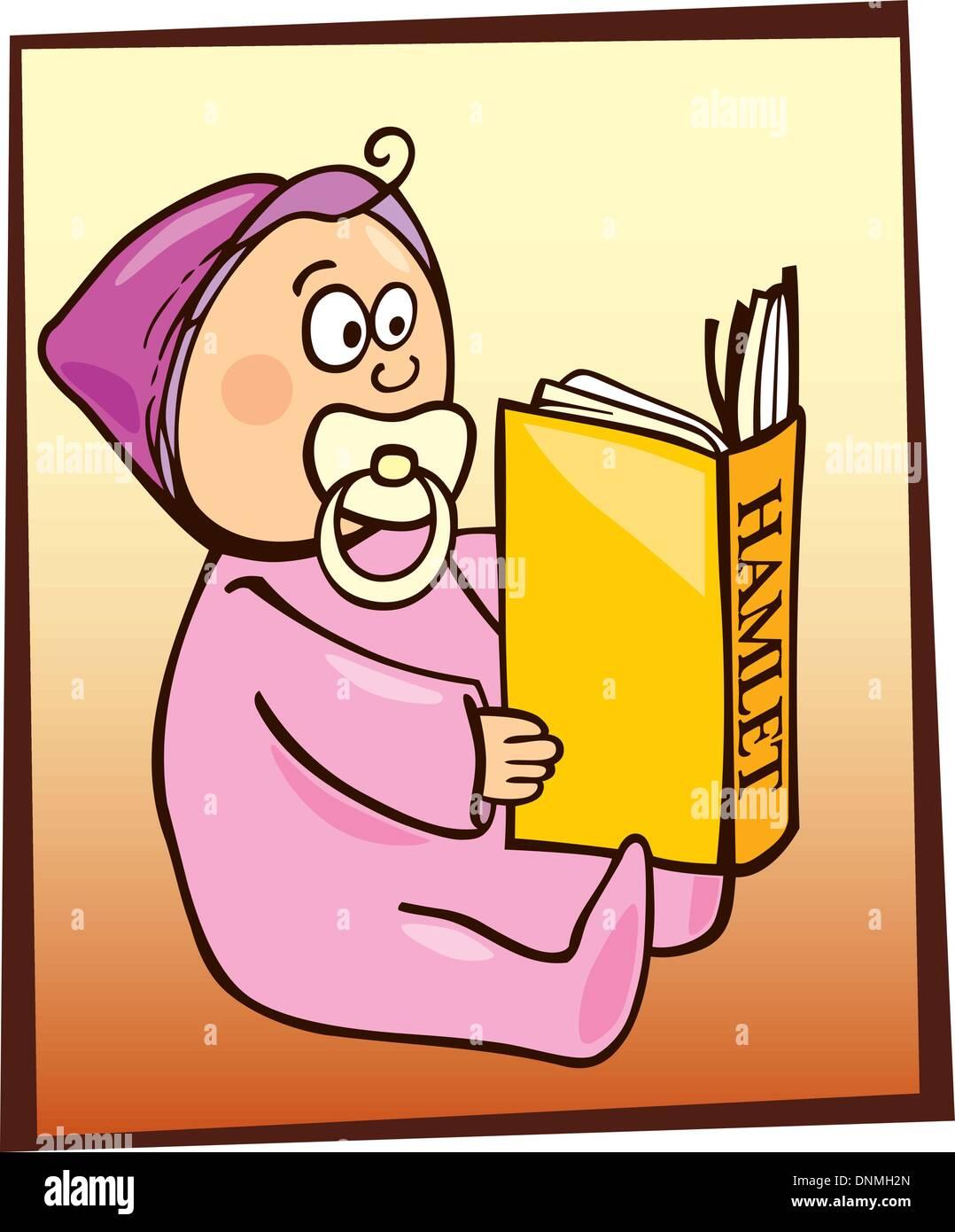 Cartoon illustration of baby reading Hamlet - Stock Vector