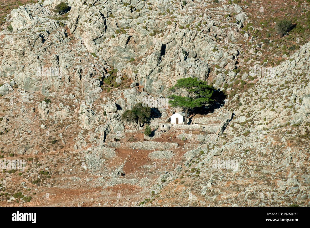 Griechenland, Insel Tilos, Bucht von Livadia, byzantinische Kapelle Agios Pavlos - Stock Image