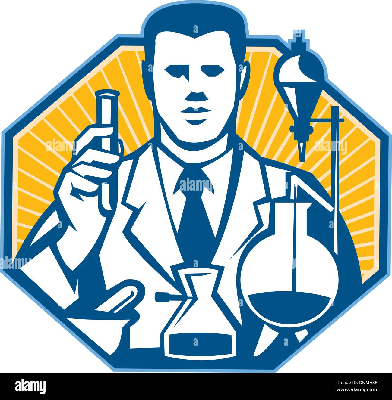 Illustration of scientist laboratory researcher chemist holding test tube flask done in retro style. - Stock Vector