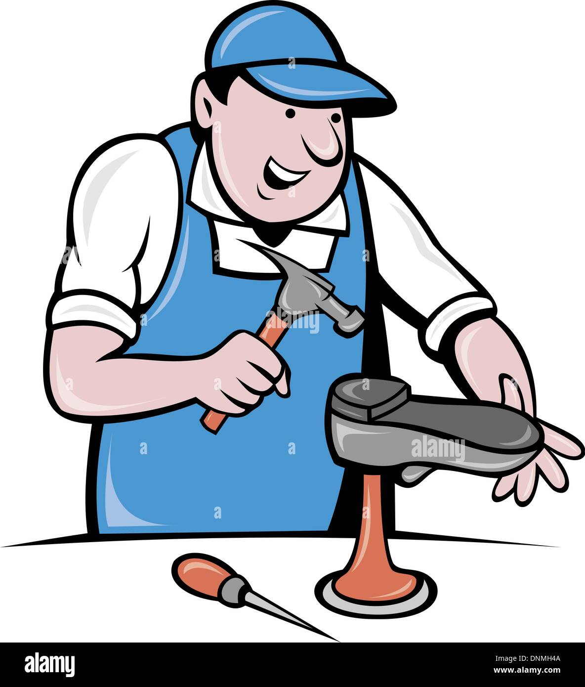 illustration of a shoemaker cobbler shoe repair working on