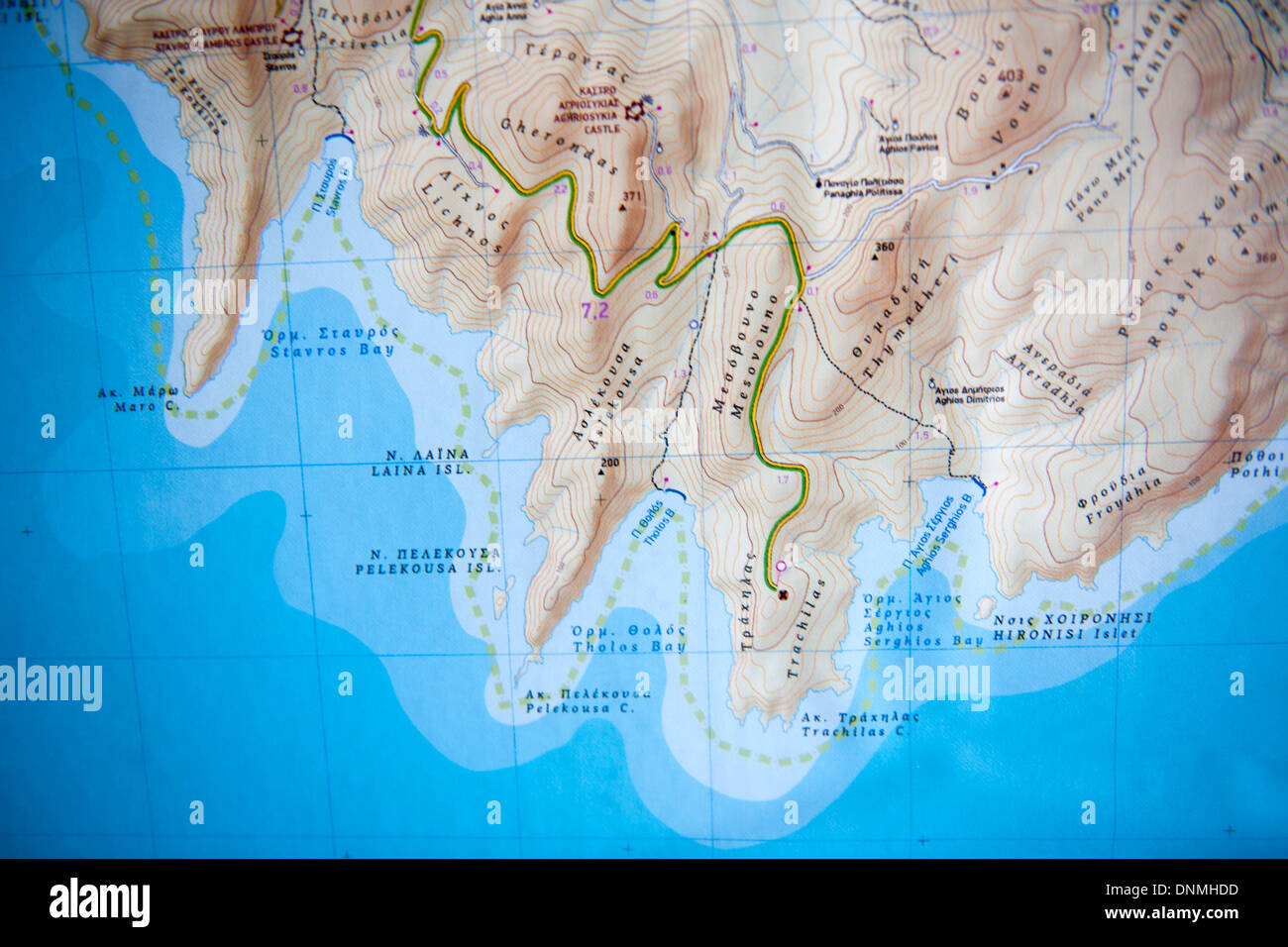 Griechenland, Insel Tilos, Karte - Stock Image