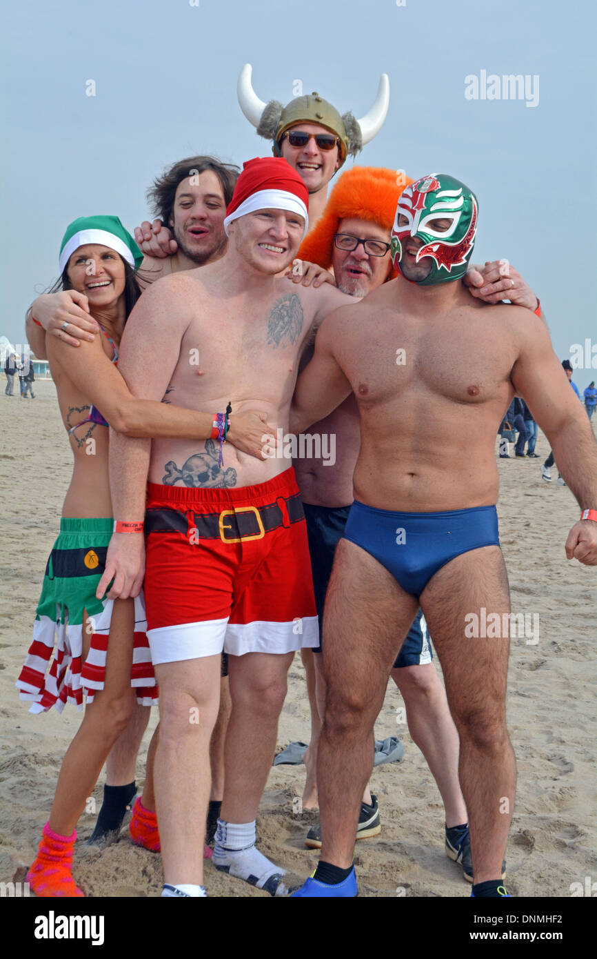 A group of participants in costume at the annual Polar Bear Club's New Year's day swim in Coney Island Brooklyn, New York - Stock Image