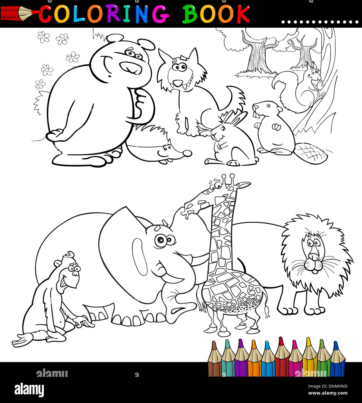 Coloring Book or Page Cartoon Illustration of Funny Wild and Safari ...