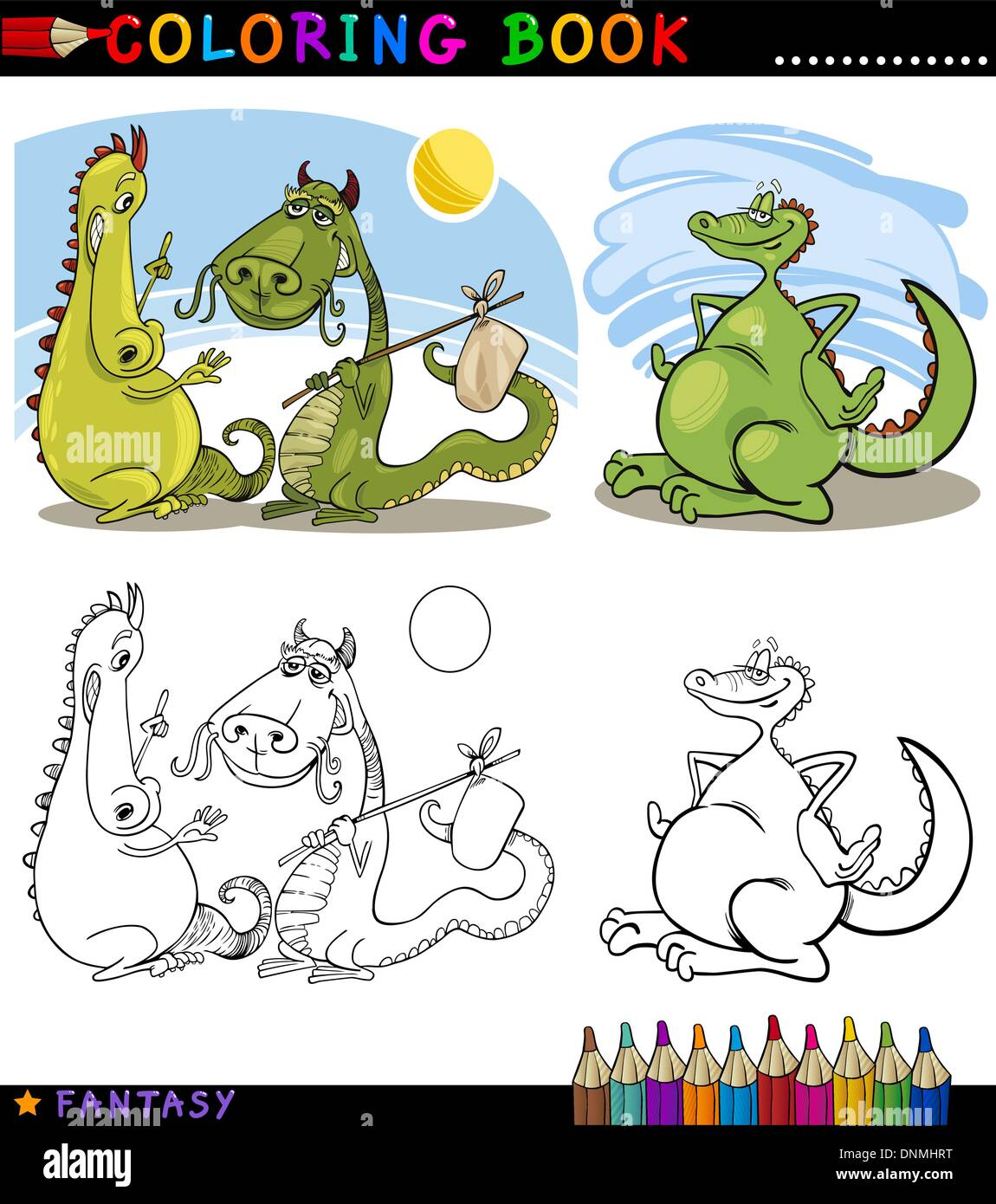 Coloring Book Or Page Cartoon Illustration Of Dragons Fairytale Stock Vector Image Art Alamy