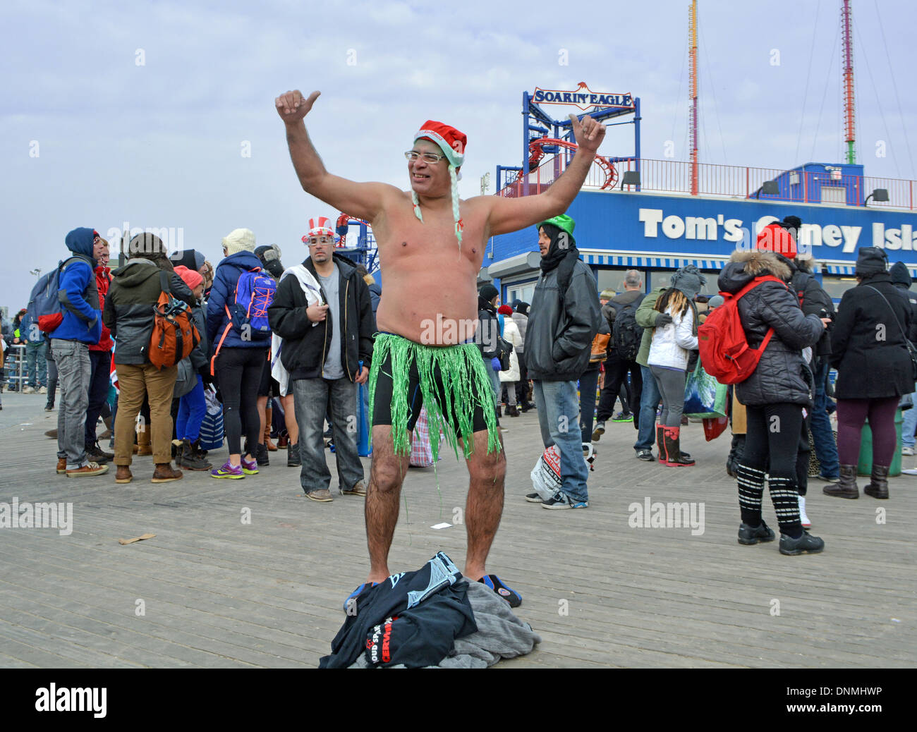 A participant in the annual Polar Bear Club's New Year's day swim in Coney Island Brooklyn, New York - Stock Image