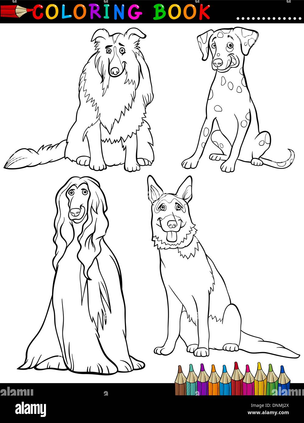 Coloring Book Black and White Cartoon Illustration of Cute Purebred Dogs - Stock Vector