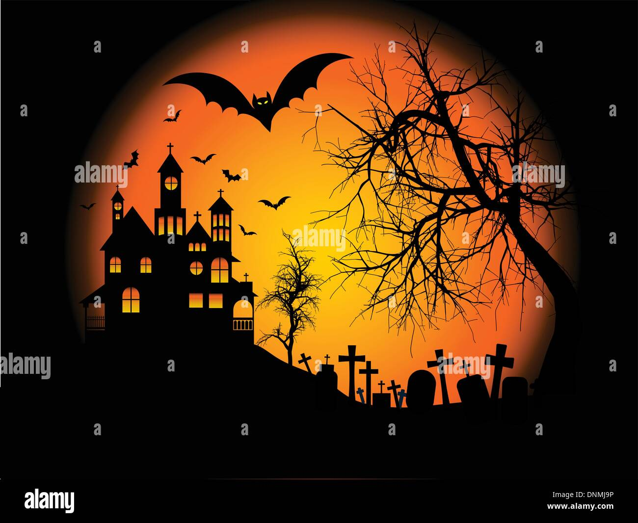 Spooky Halloween Background With Haunted House On A Hill ...