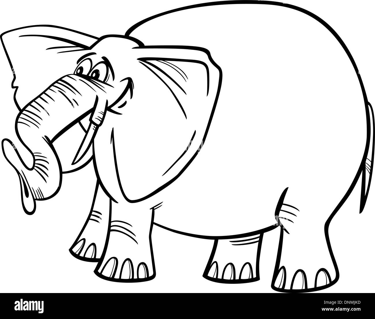 Cartoon Illustration Of Funny Gray African Elephant For Coloring Book