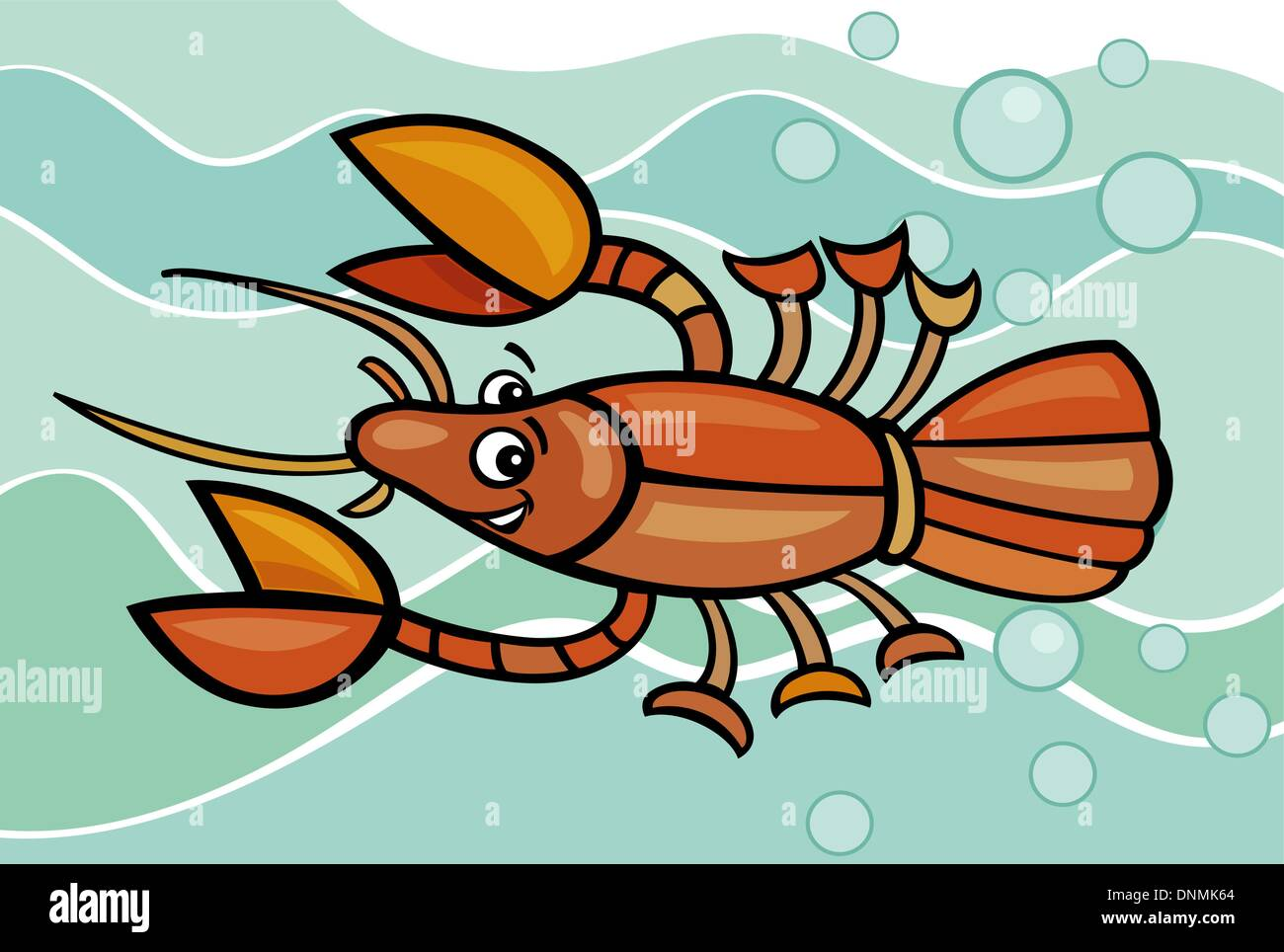 Cartoon Illustration of Funny Crayfish in the Water - Stock Vector