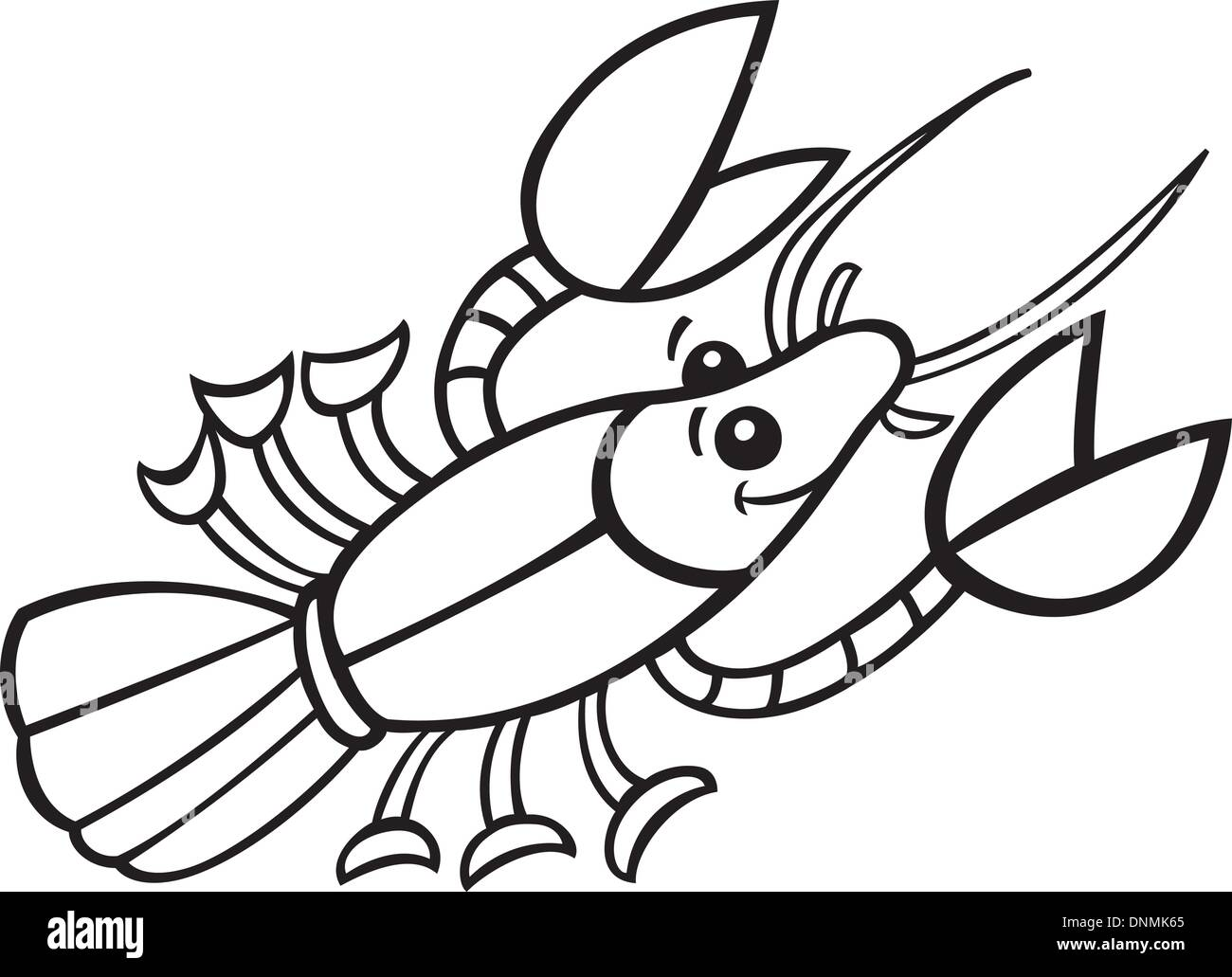 illustration of Crayfish for coloring book - Stock Vector