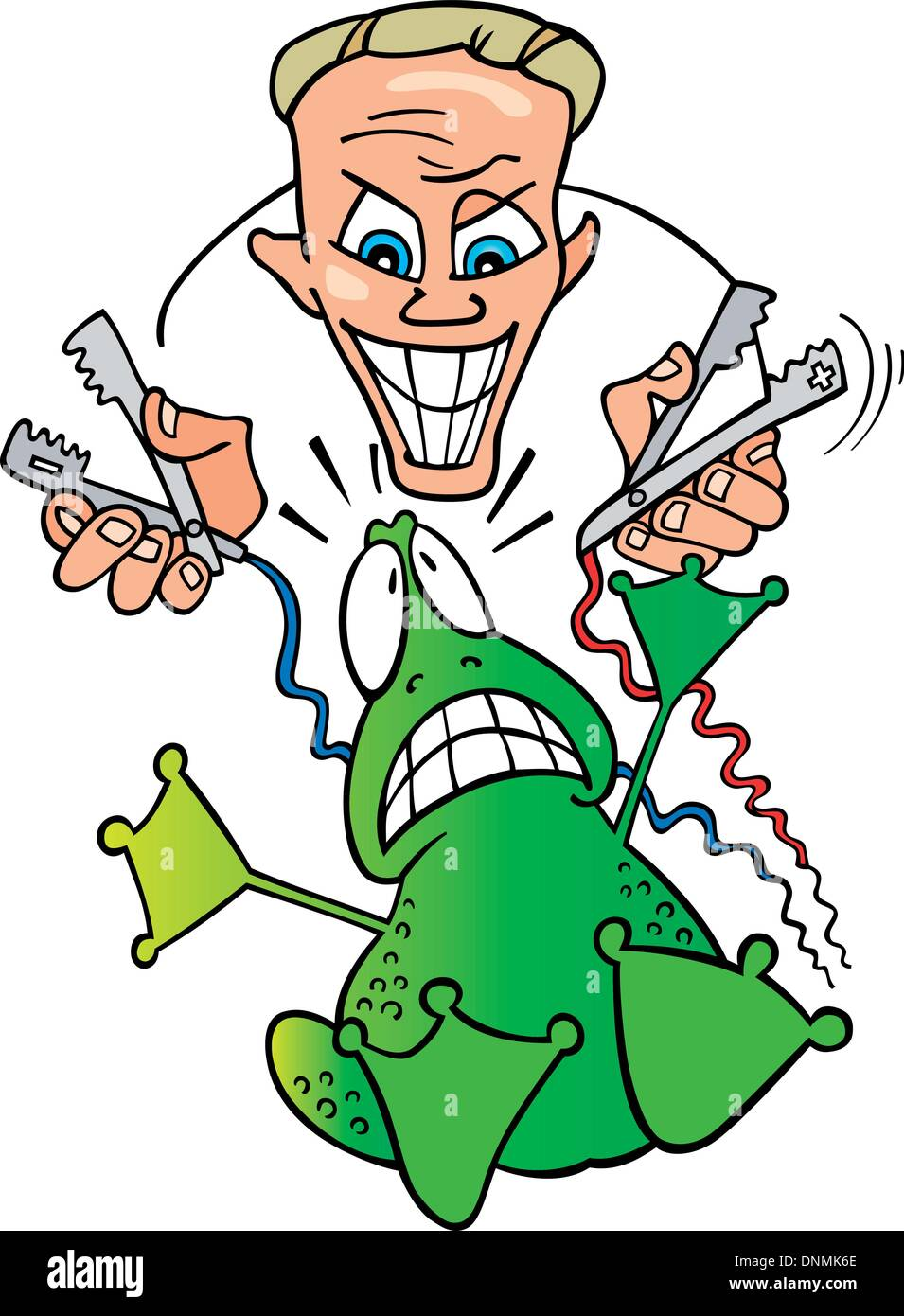 Illustration of crazy scientist and frightened frog Stock Vector