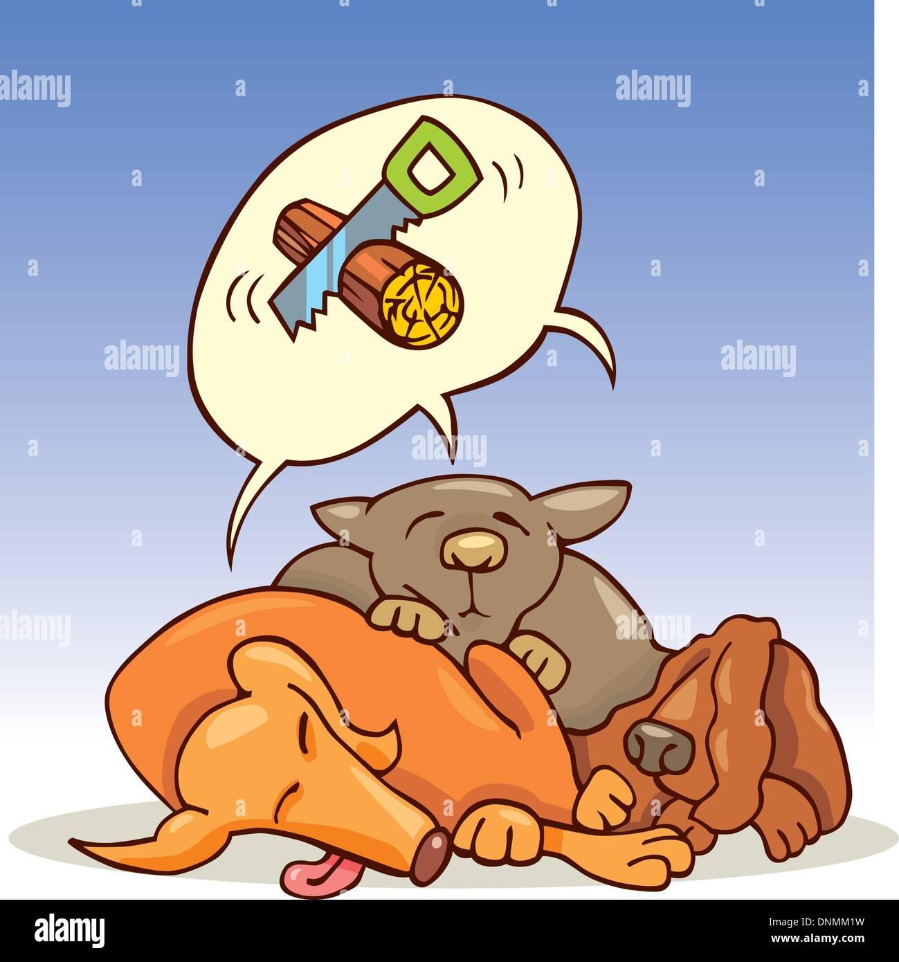 Cartoon illustration of three dogs sleeping - Stock Vector