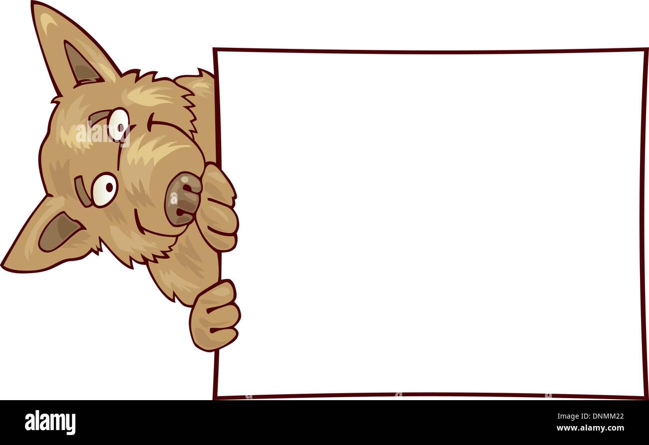 cartoon Illustration of german shepherd dog with card - Stock Vector