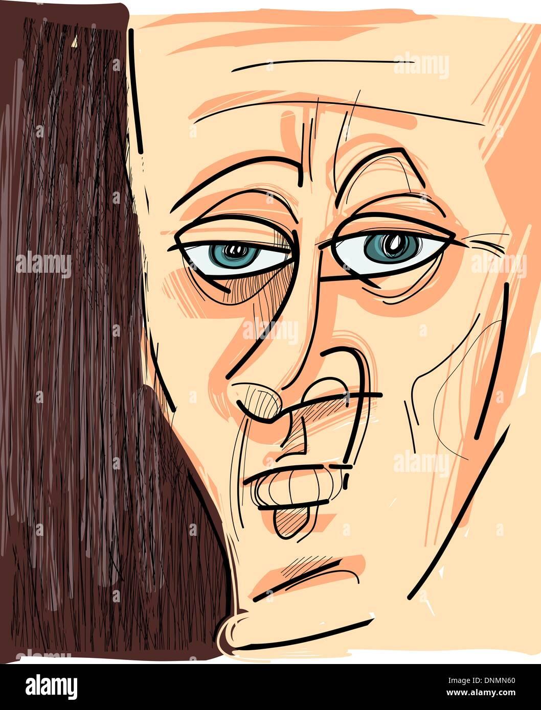 Sketch Cartoon Caricature Illustration of Man Face - Stock Vector
