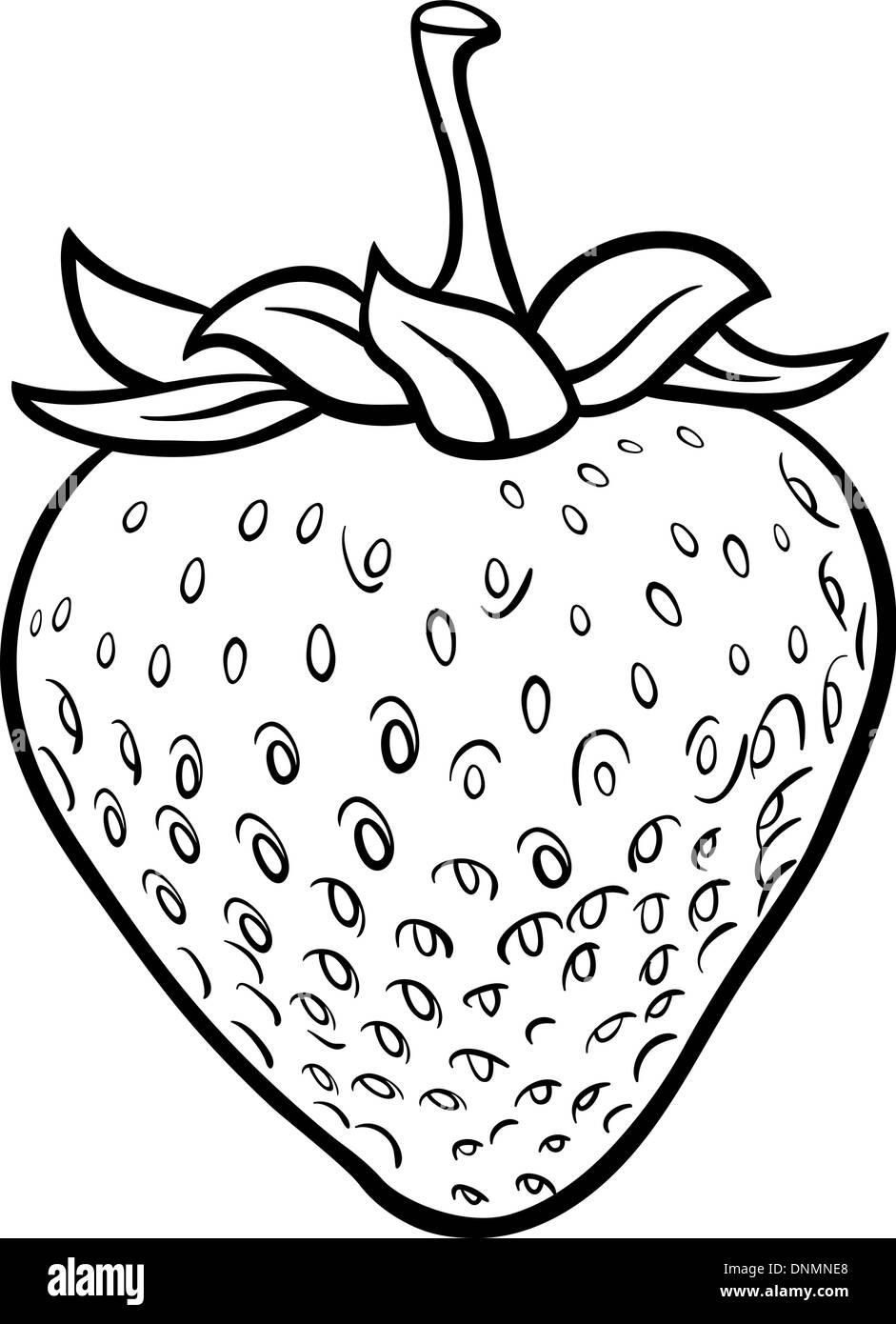 Black And White Cartoon Illustration Of Strawberry Fruit