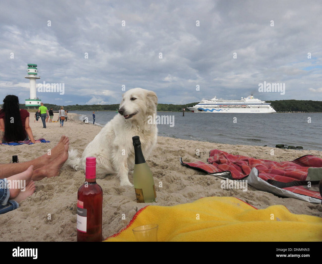 Kiel, Germany, visitors at Falckensteiner beach with a cruise ship - Stock Image
