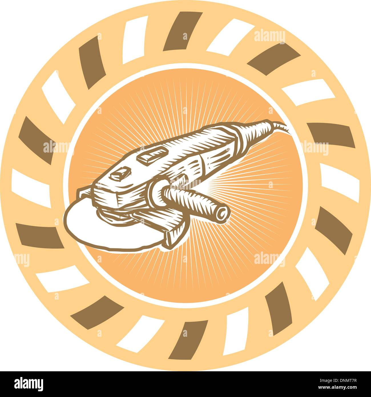 Illustration of a angle grinder also known as a side grinder or disc grinder powertool set inside circle with sunburst done in retro style. - Stock Vector