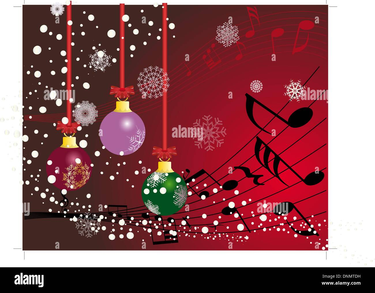 Christmas (New Year)greeting postcard with musical staff. Vector background. - Stock Image