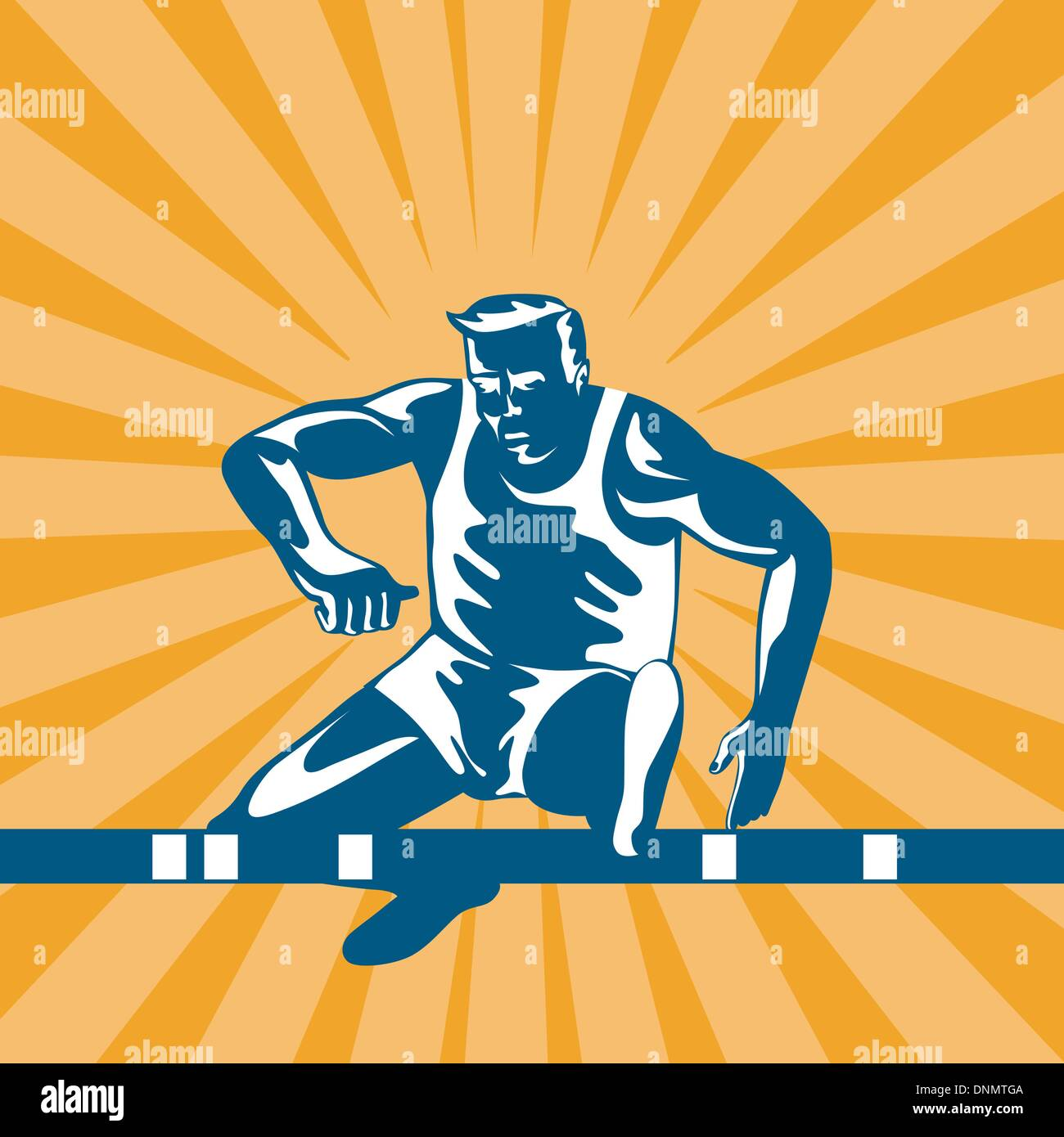 Illustration of a track and field athlete jumping hurdles done in retro style. Stock Vector