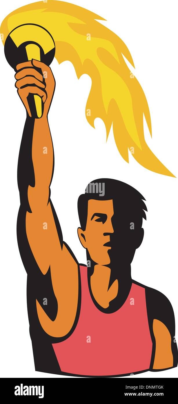 illustration of a track and field athlete with flaming torch done in retro style Stock Vector