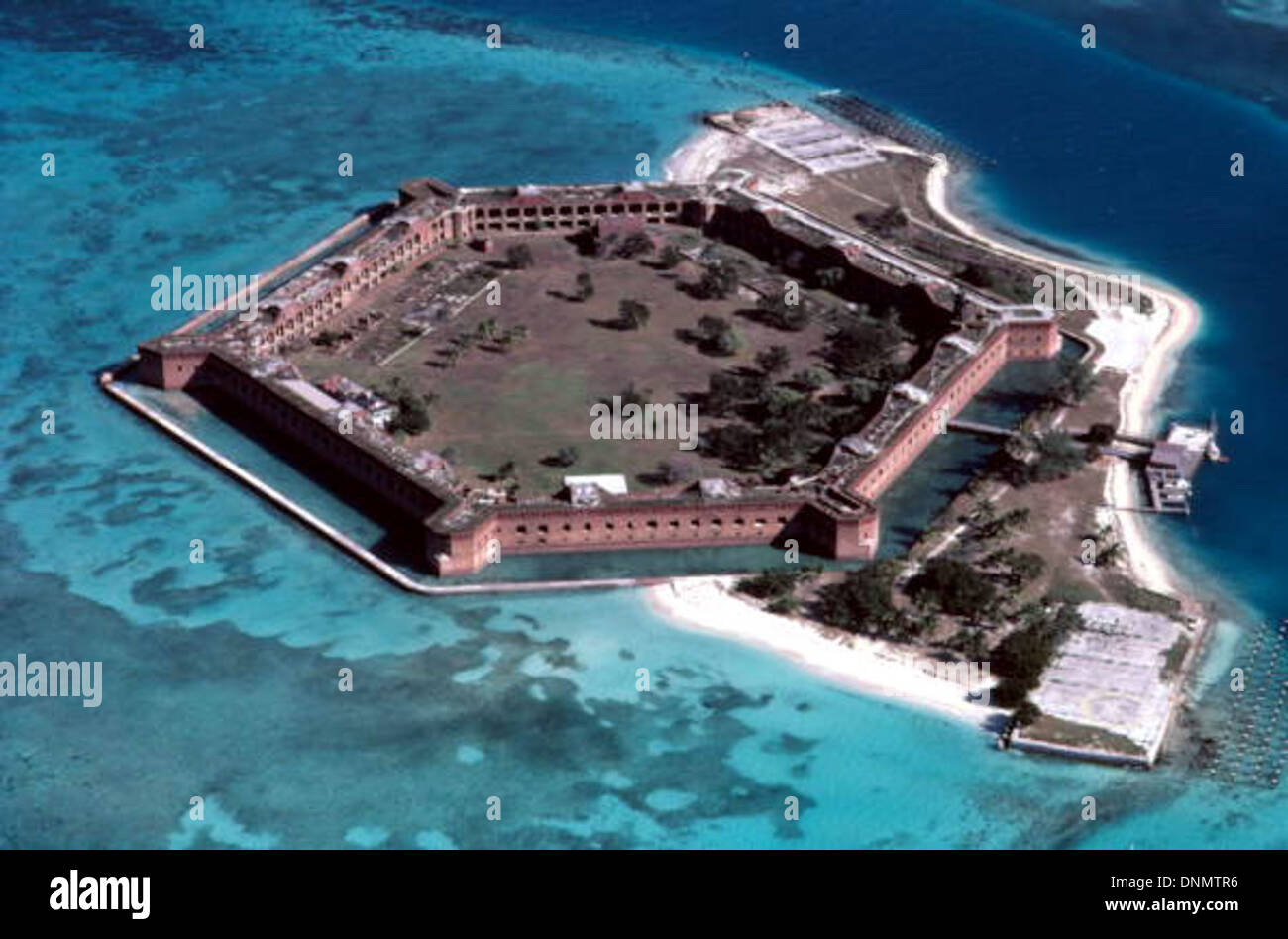 Aerial view of fort jefferson garden key dry tortugas florida stock photo 64997386 alamy for Garden key dry tortugas national park