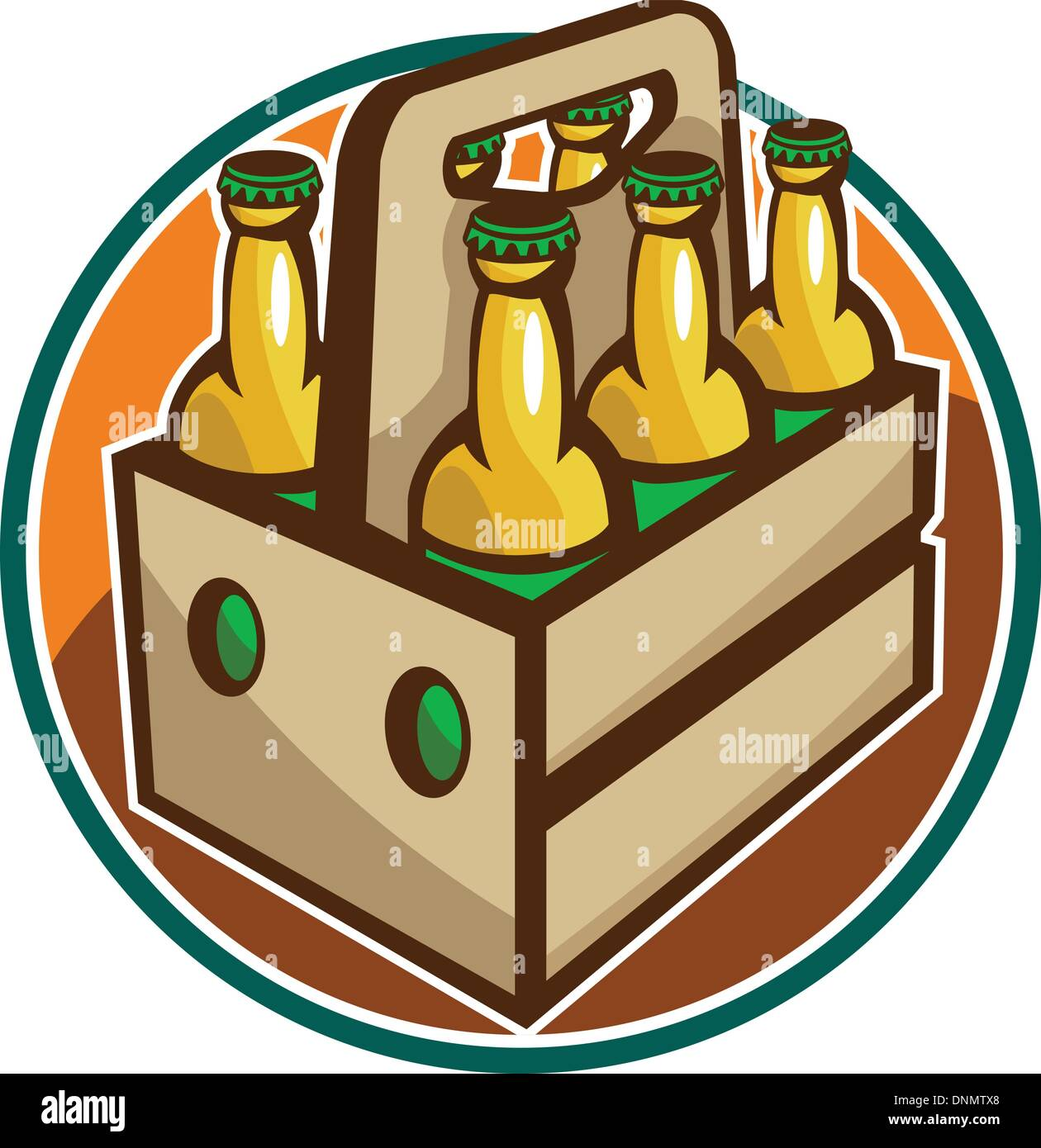 Illustration of a 6 pack case crate of beer set inside circle done in retro style. Stock Vector
