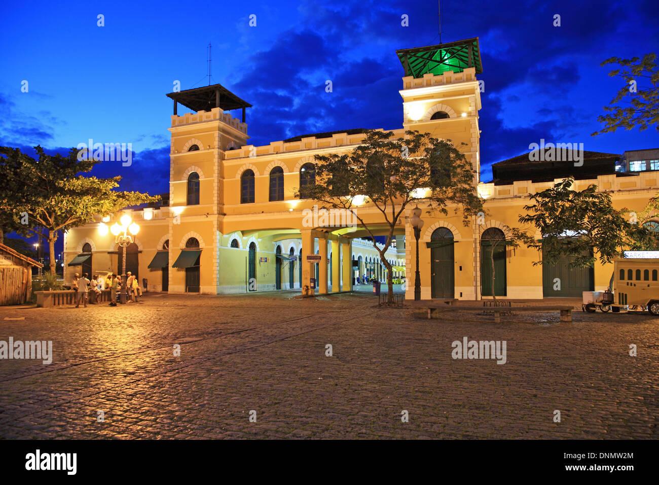 Brazil, Santa catarina, Florianopolis, Municipal Public Market at night - Stock Image