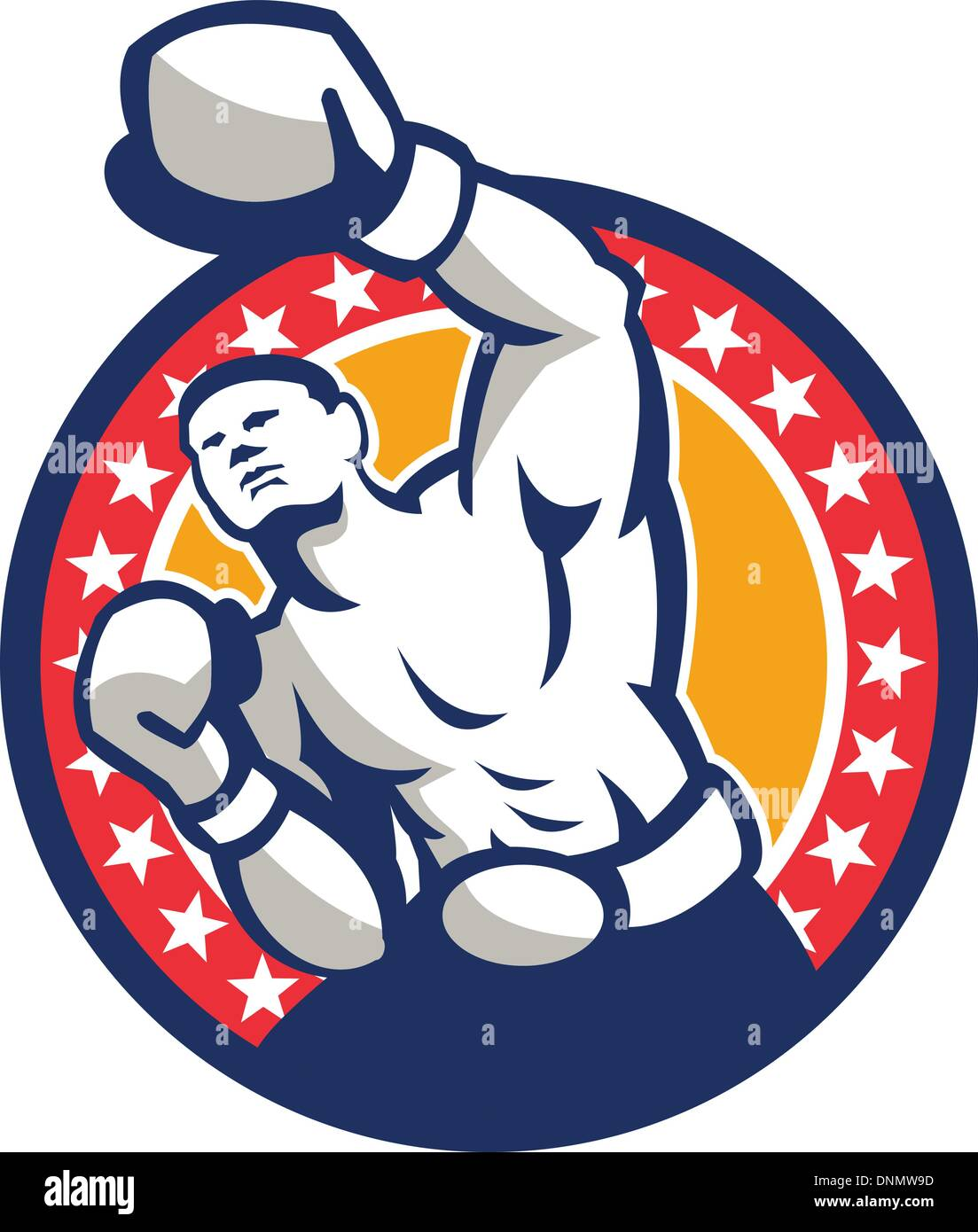 Illustration of a boxer jabbing punching set inside circle with stars around done in retro style - Stock Vector
