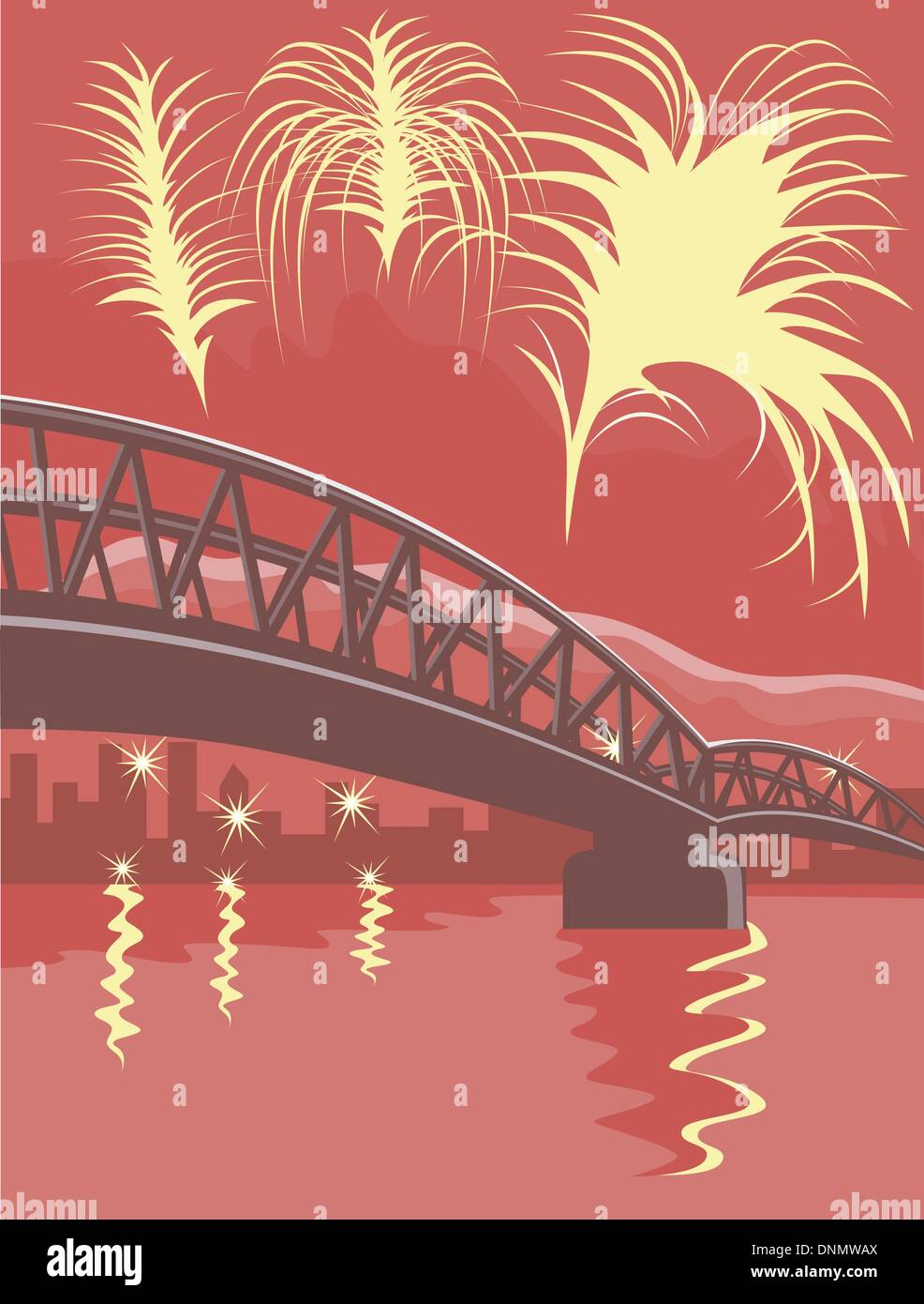 Illustration of a bridge and the sea with fireworks and buildings in the background, done in retro style. - Stock Vector