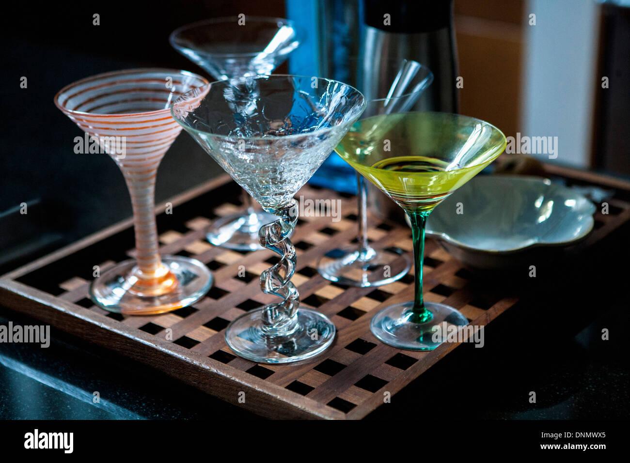 Assortment of Martini Glasses - Stock Image