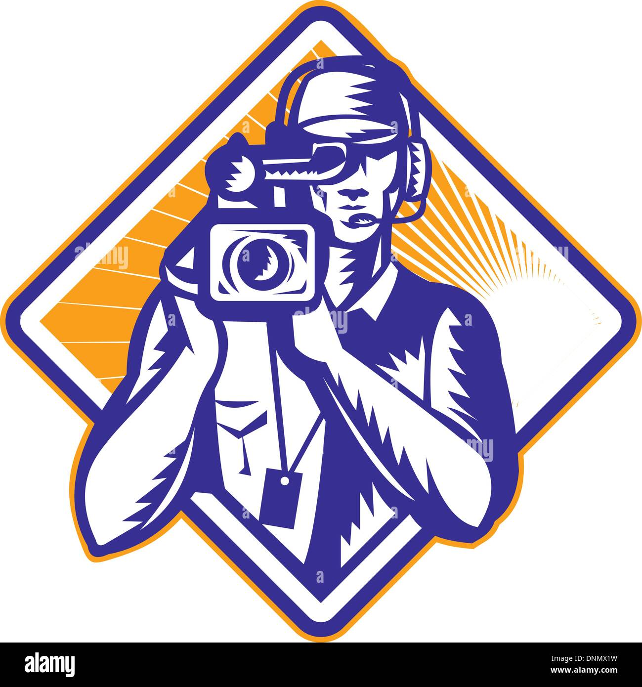 illustration of a film crew cameraman with video camera facing front done in retro woodcut style set inside diamond shape
