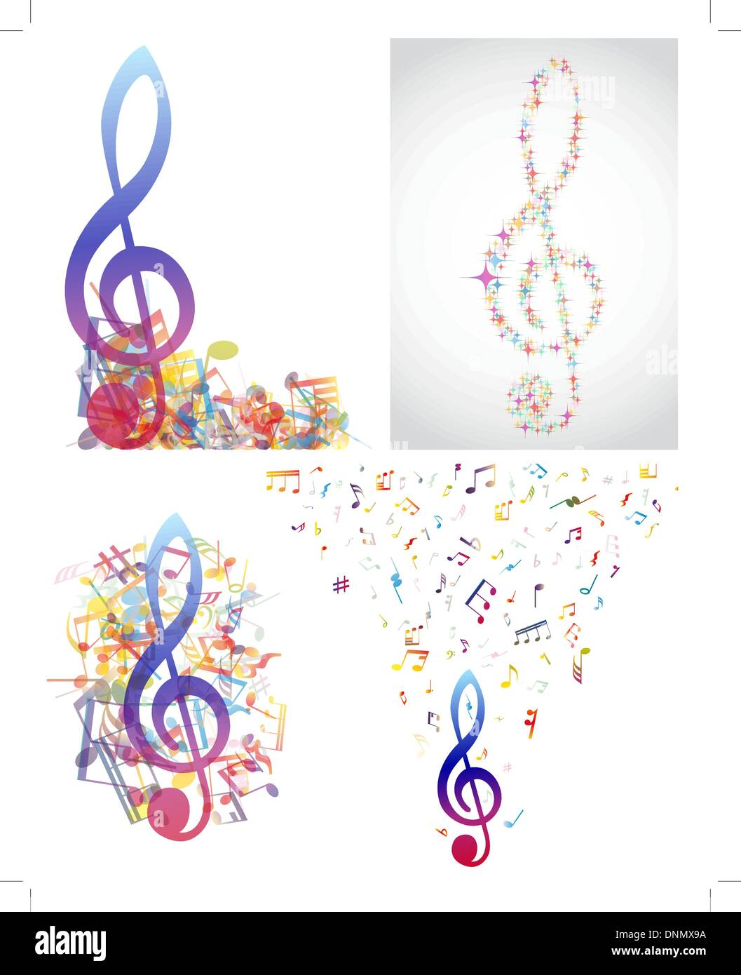 Abstract Background Colorful Music Notes Cut Out Stock Images