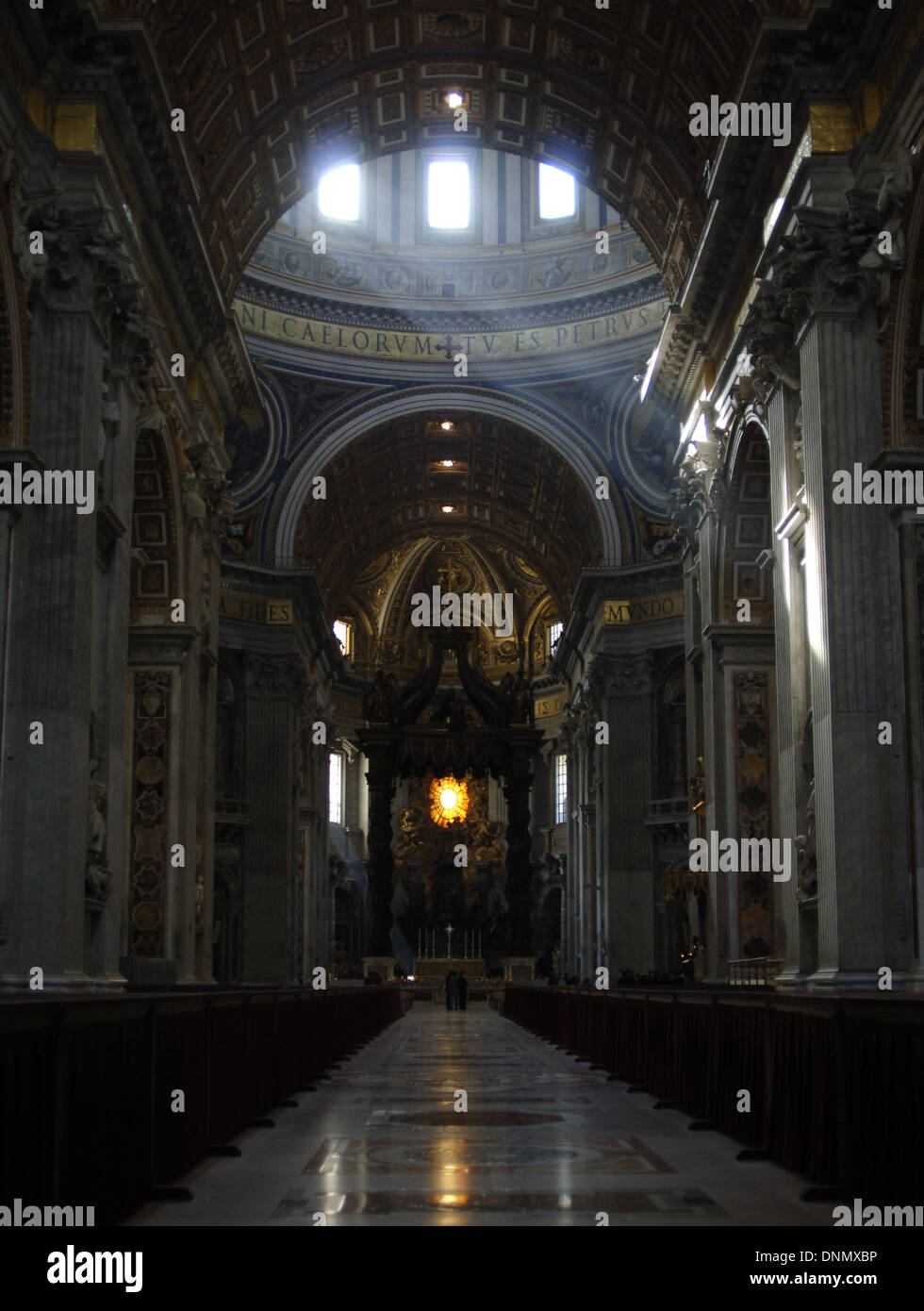 St. Peter's Basilica. Designed by Bramante, Michelangelo,, Maderno and Bernini. Maderno's nave and Bernini's baldacchino. - Stock Image
