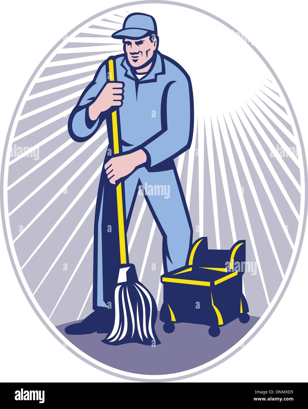 illustration of a cleaner janitor cleaning floor with mop viewed from front set inside ellipse done in retro woodcut style. - Stock Vector
