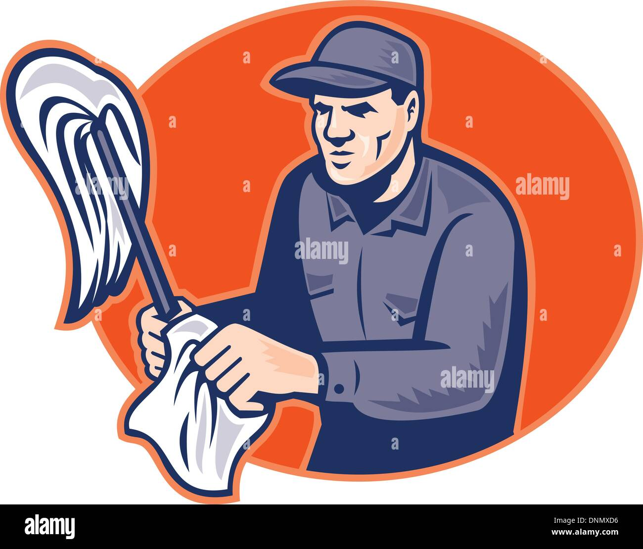 illustration of a cleaner janitor holding a cleaning mop and wipe set inside ellipse done in retro woodcut style. - Stock Vector
