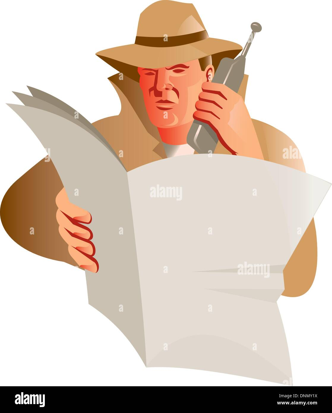 illustration of a male detective using calling cell phone while reading a newspaper on isolated background done in retro style - Stock Image