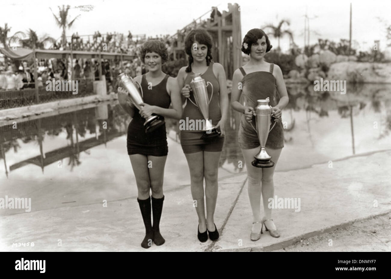 Beauty contest winners at the Venetian Pool in Coral Gables, Florida - Stock Image