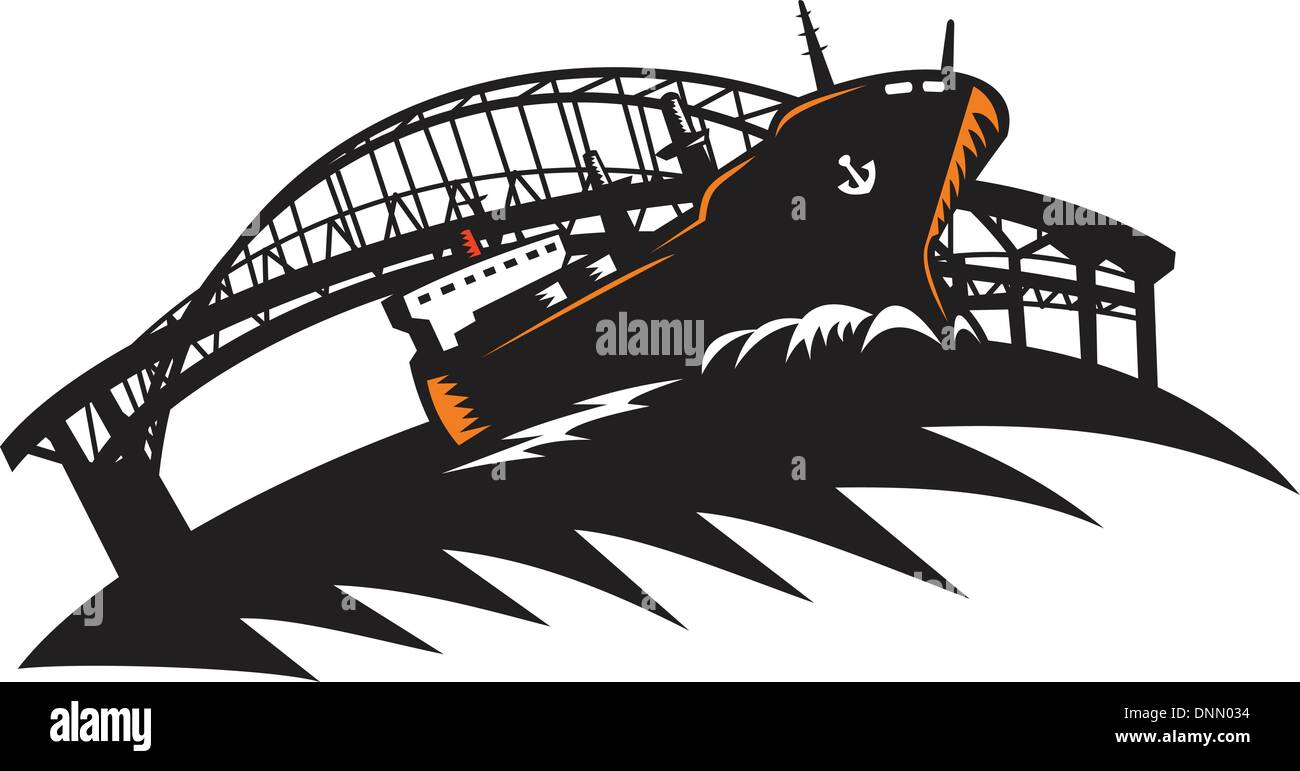 Illustration of a cargo freighter container ship at sea with bridge in the background done in retro woodcut style. - Stock Image