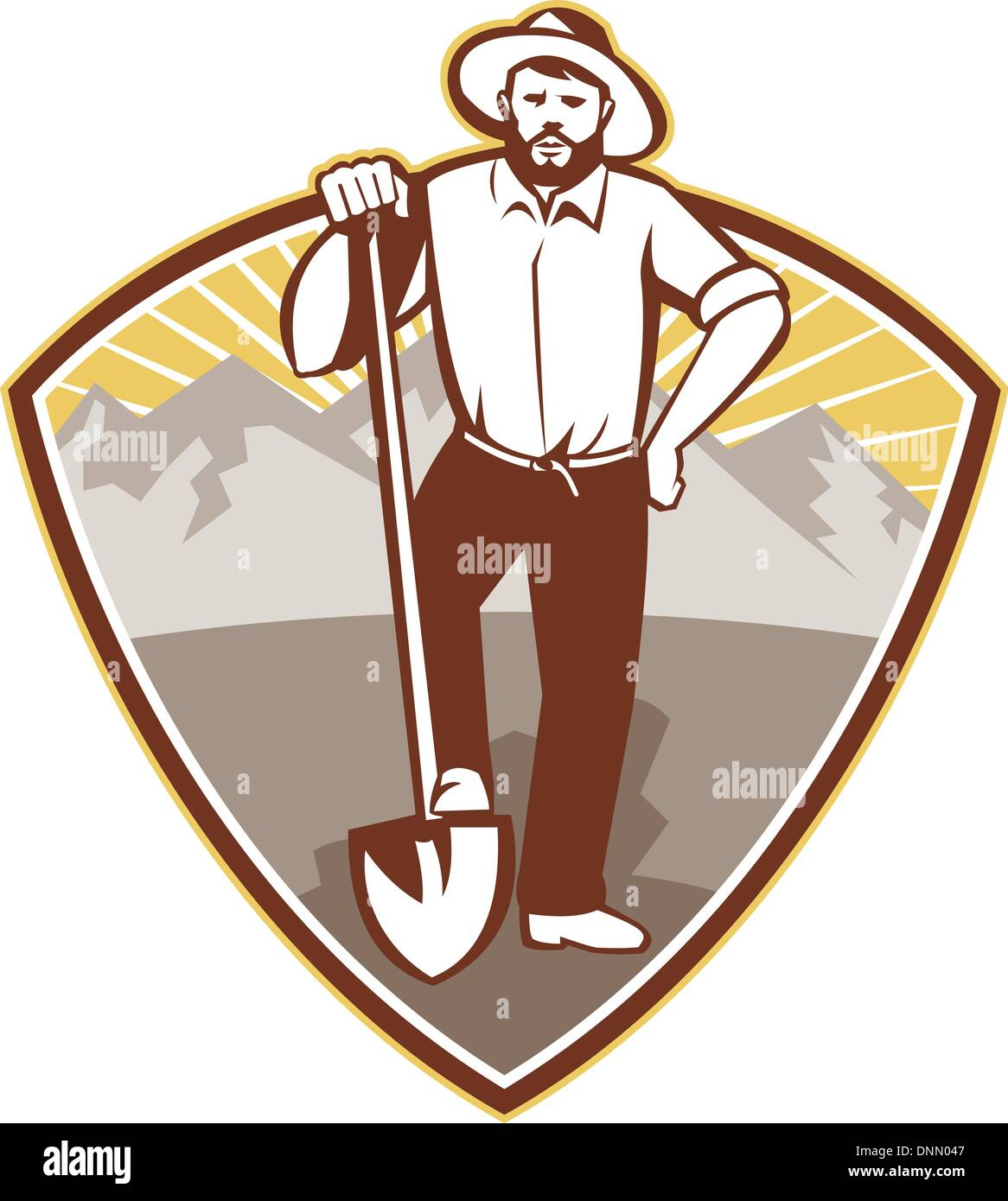 illustration of a gold digger miner prospector with shovel spade done in retro style set inside shield with mountains in background. - Stock Image